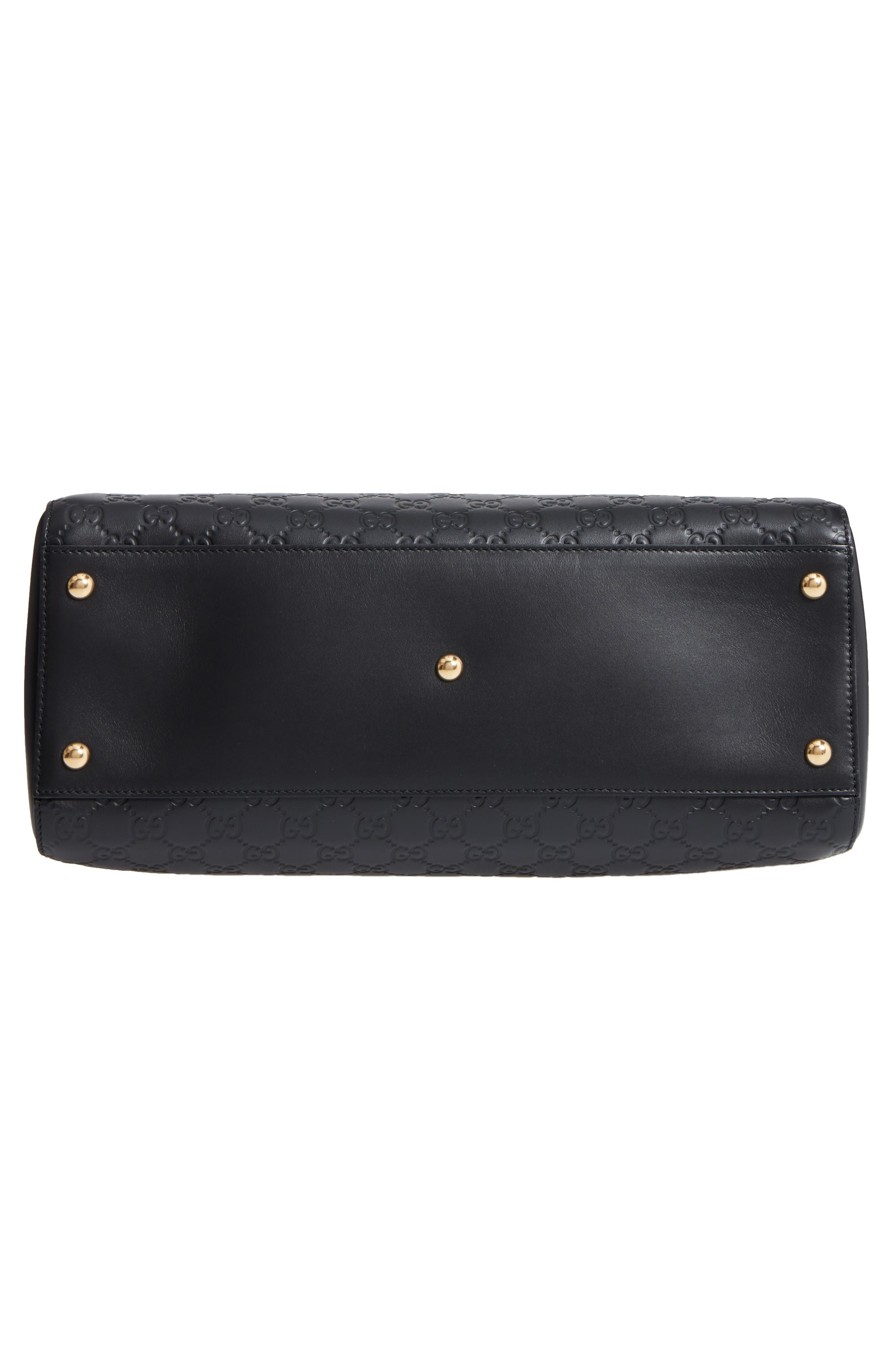 Large Signature Leather Shoulder Bag,                             Alternate thumbnail 6, color,                             001