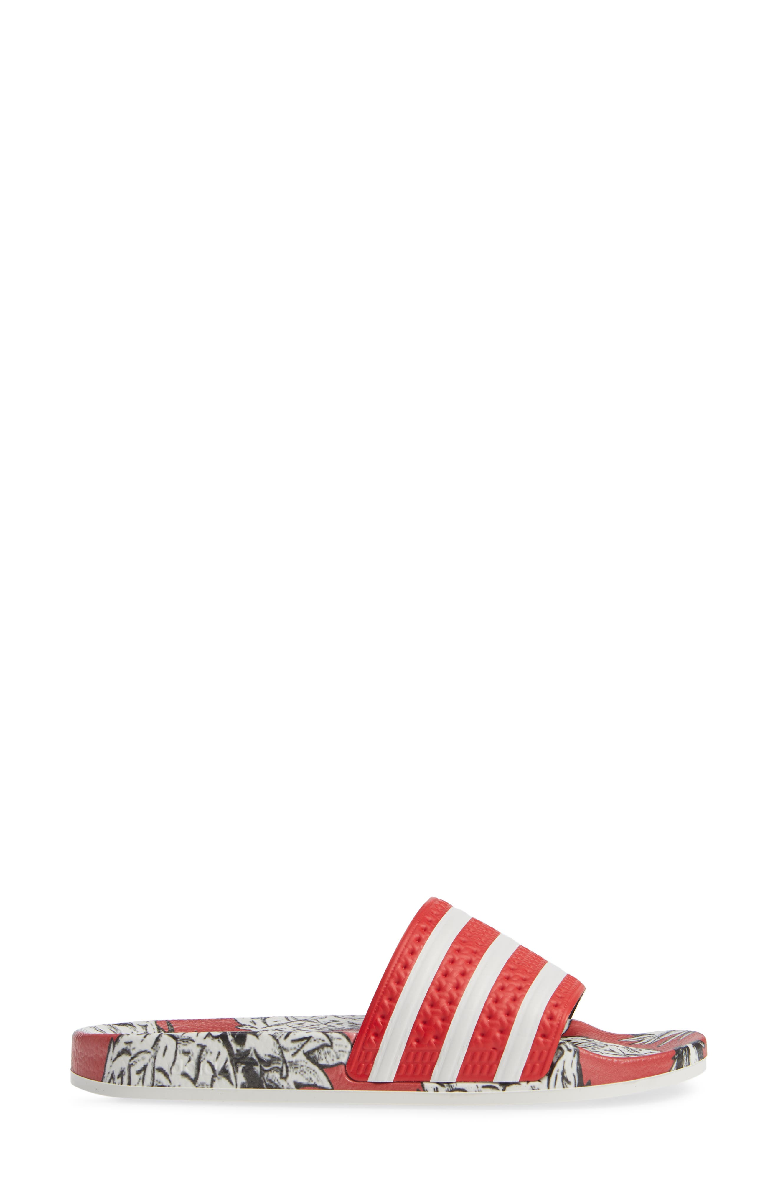 Adilette Sport Slide,                             Alternate thumbnail 3, color,                             SCARLET/ OFF WHITE/ SCARLET