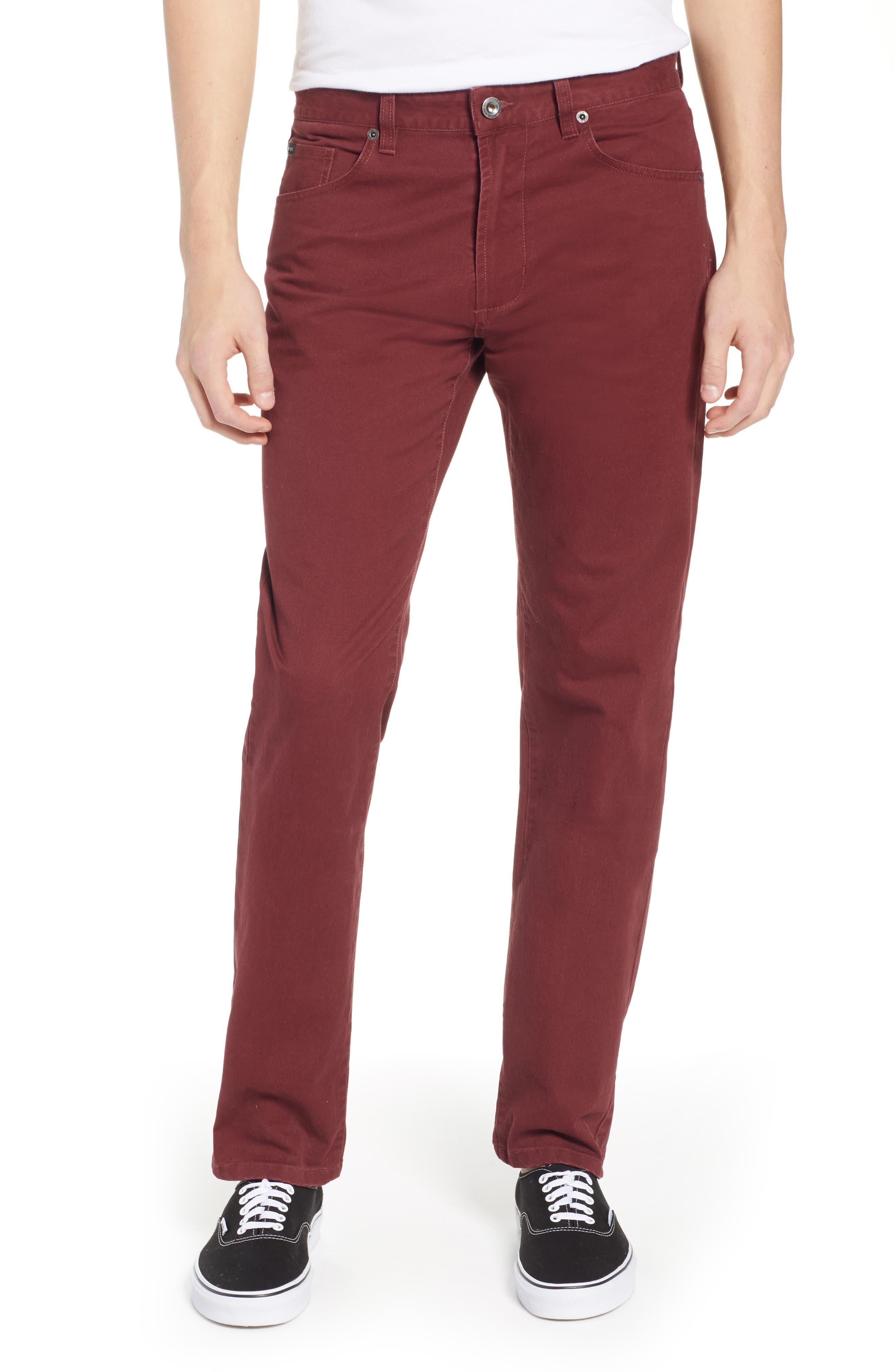 'Daggers' Slim Fit Twill Pants,                         Main,                         color, BORDEAUX