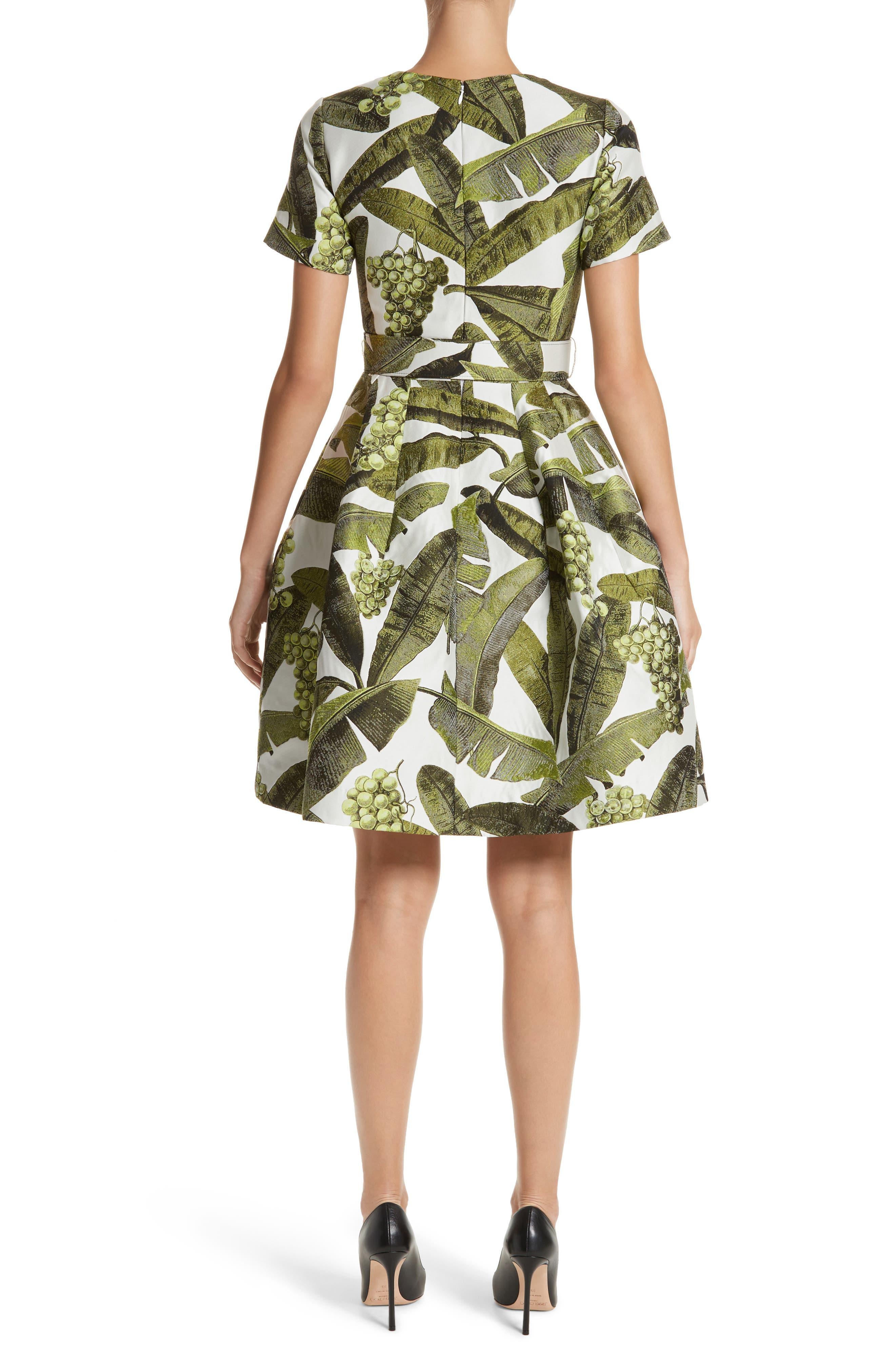 Leaf Jacquard Dress,                             Alternate thumbnail 2, color,                             300