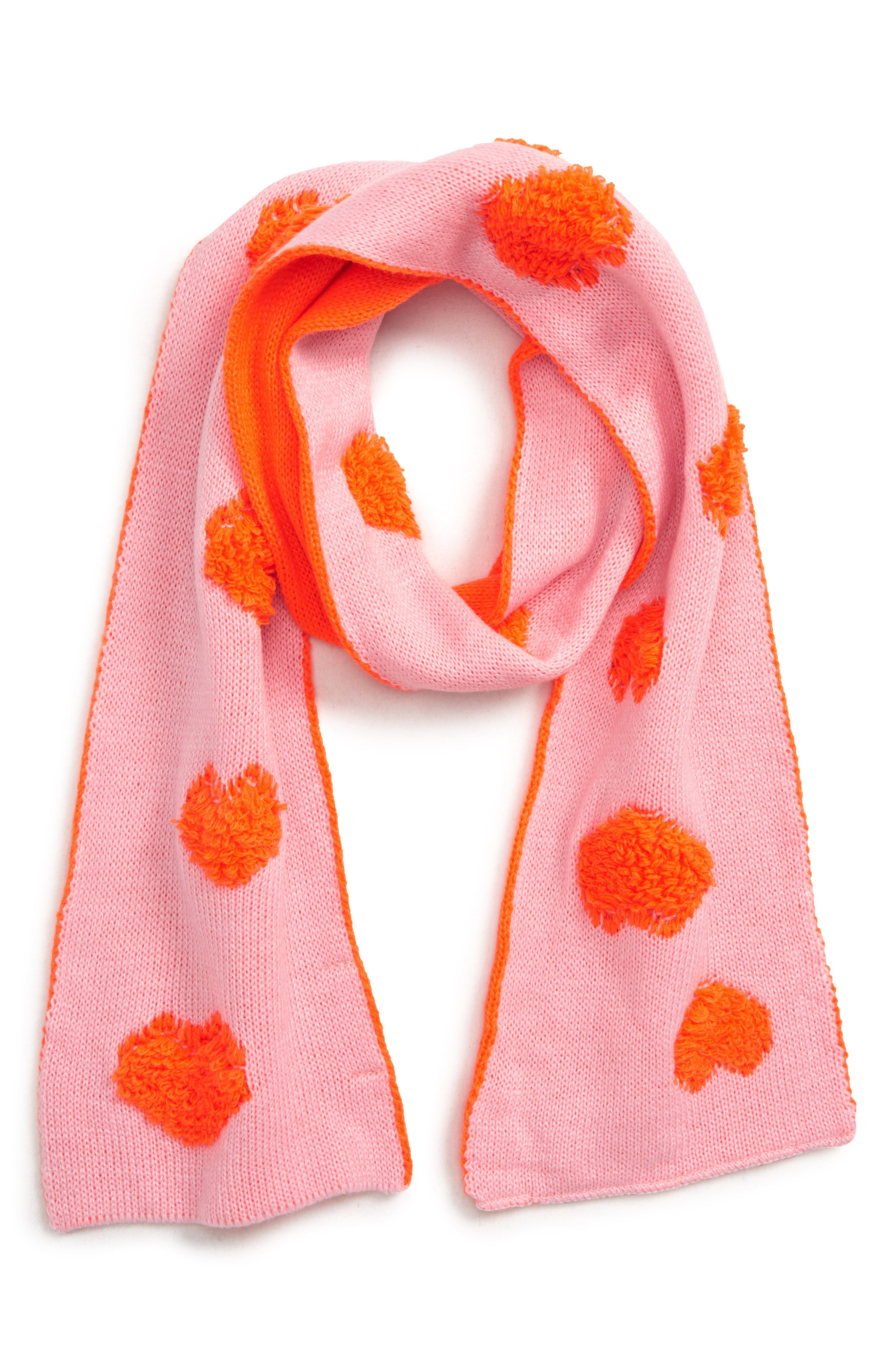 Neon Heart Scarf,                             Main thumbnail 1, color,                             PINK PEACHSKIN- PINK HEARTS