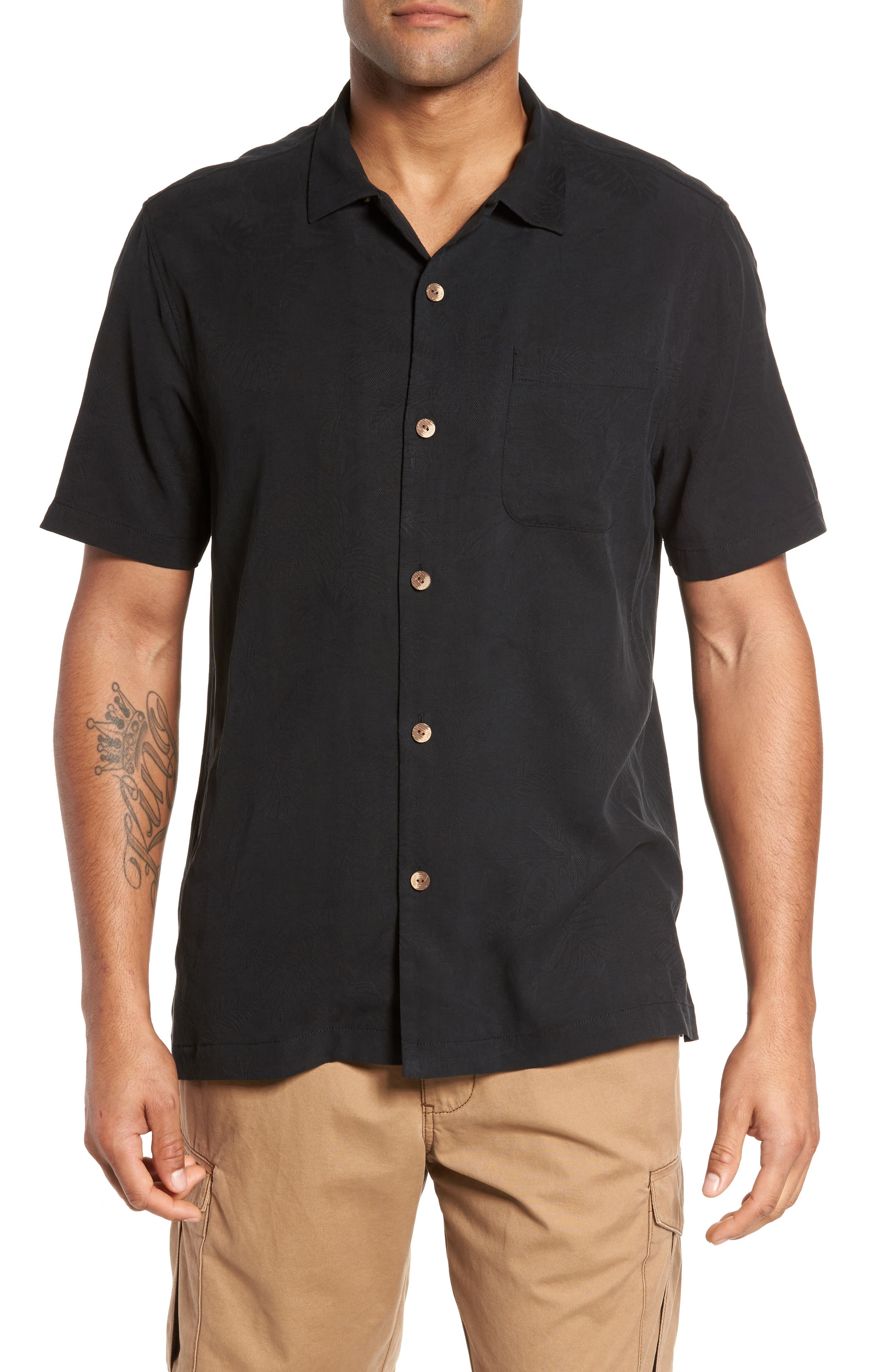 St Lucia Fronds Silk Camp Shirt,                         Main,                         color, BLACK
