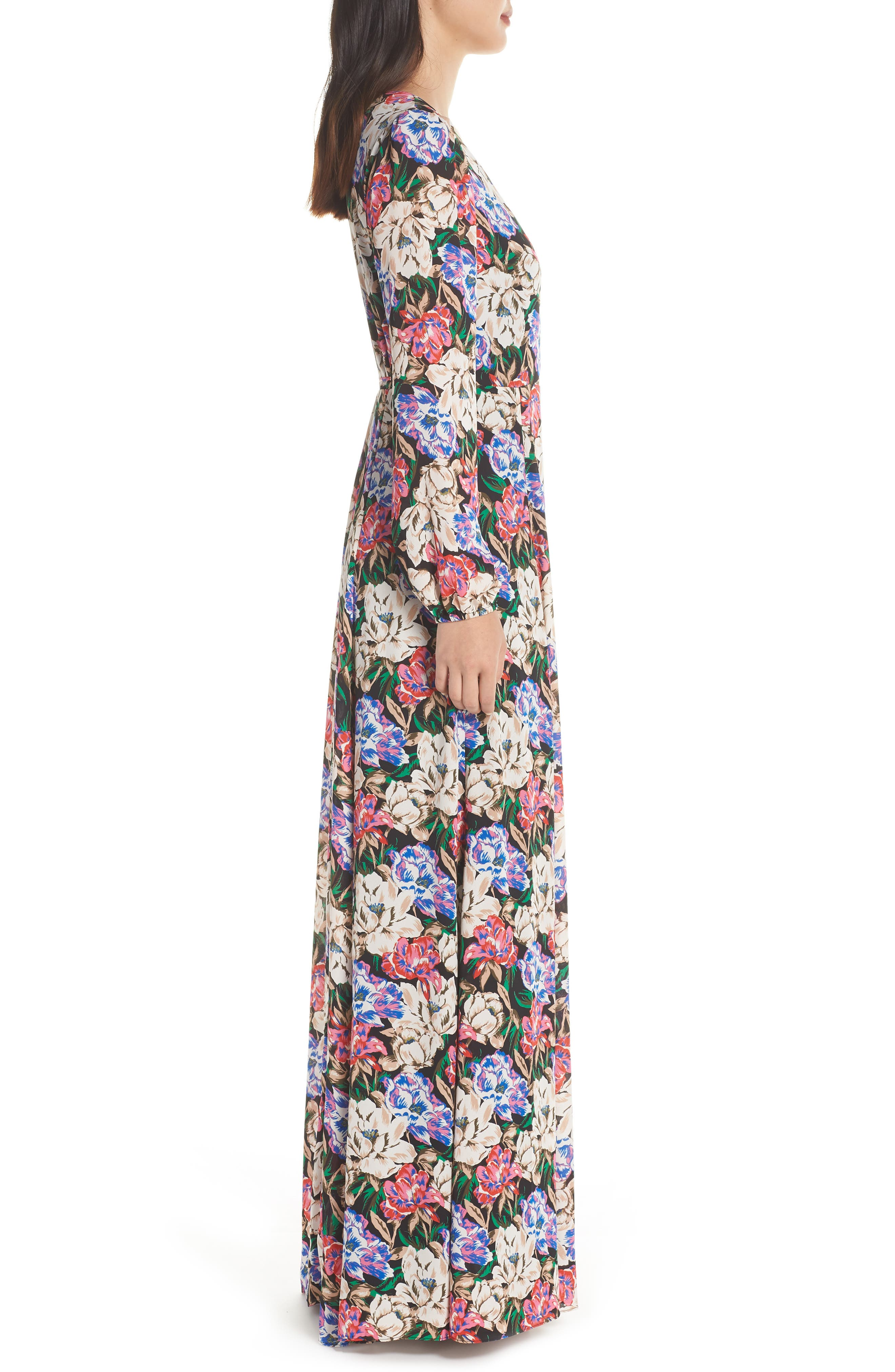 Lila Long Sleeve Wrap Gown,                             Alternate thumbnail 3, color,                             MIDNIGHT FLORAL