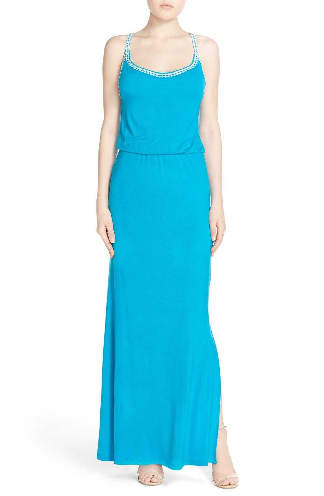 Crochet Trim Maxi Dress,                         Main,                         color, CARIBBEAN