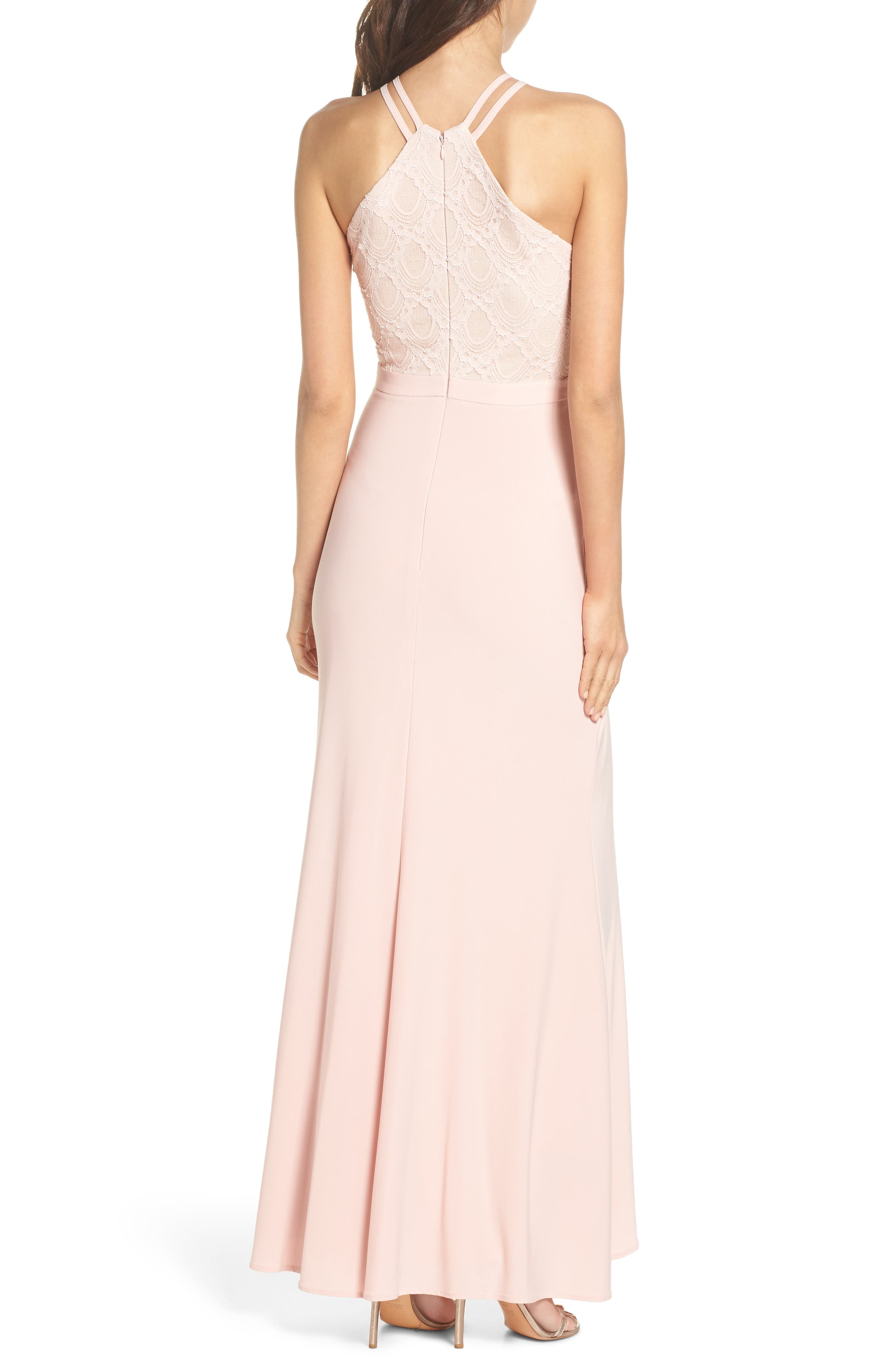 Lace Cutaway Bodice Gown,                             Alternate thumbnail 2, color,                             BLUSH / NUDE