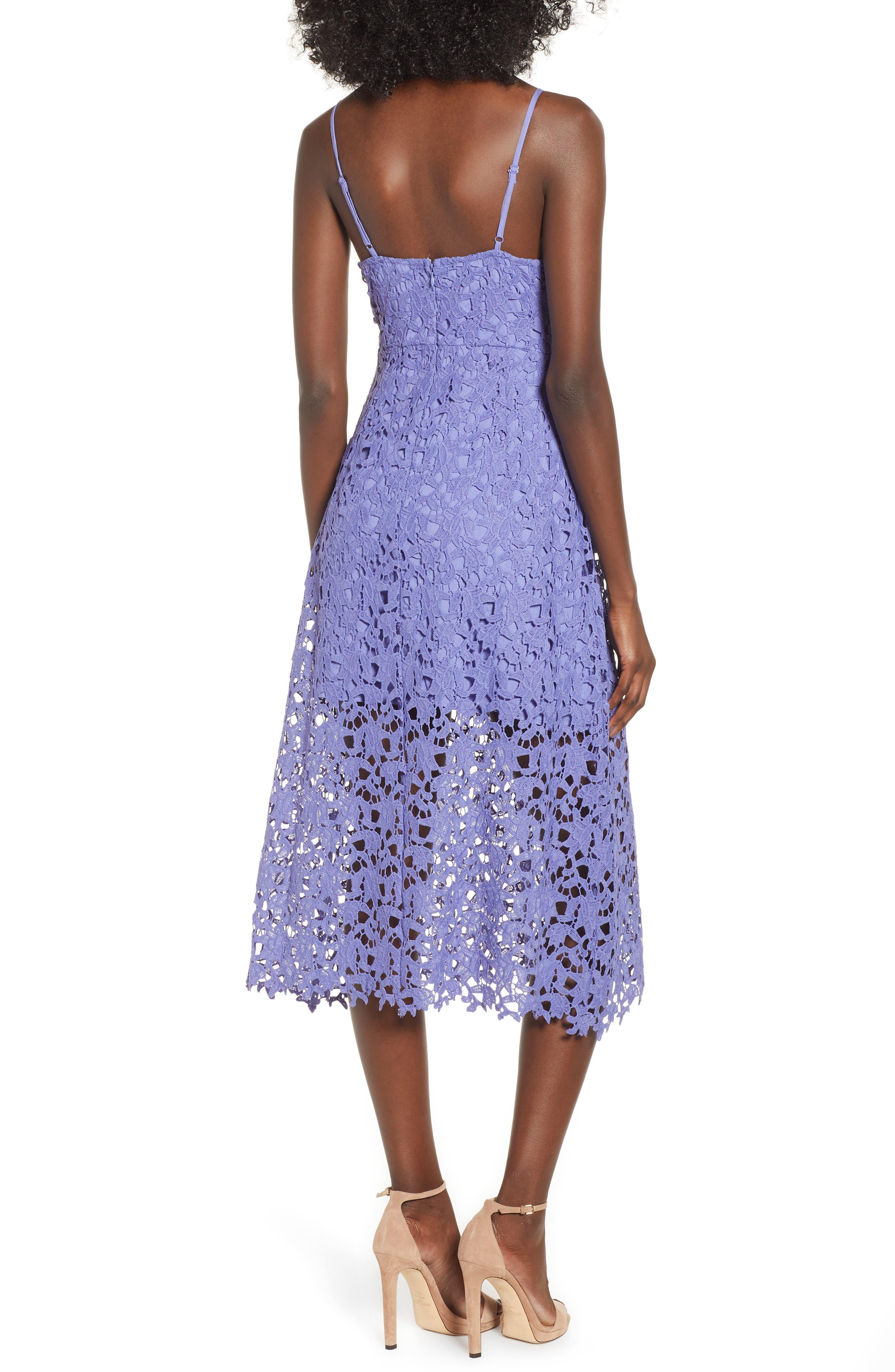 Lace Midi Dress,                             Alternate thumbnail 2, color,                             PURPLE ORCHID