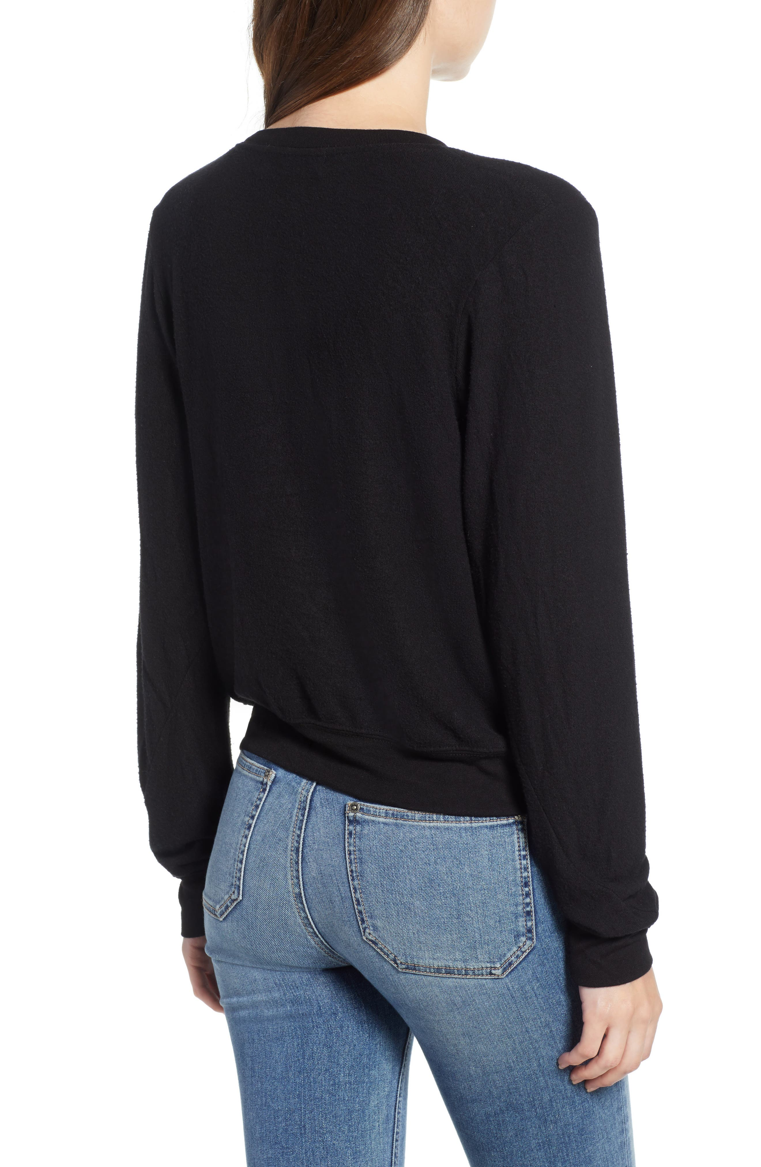 V-Neck Pullover,                             Alternate thumbnail 2, color,                             JET BLACK