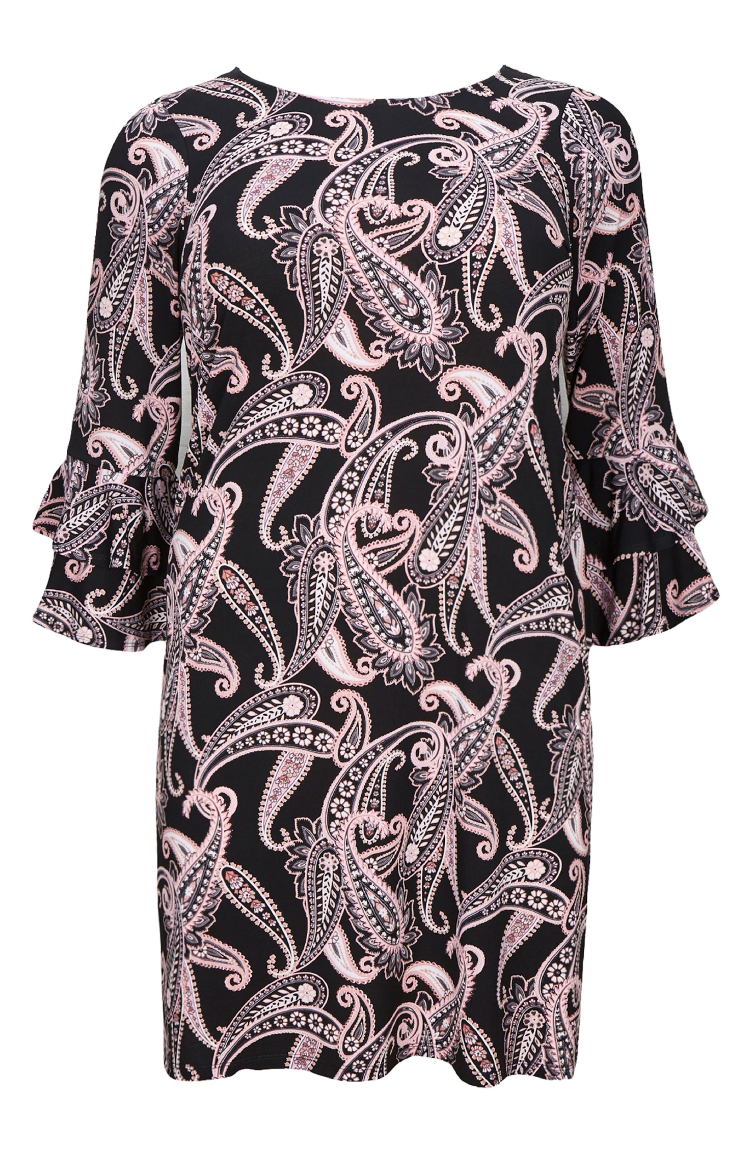 Paisley Fluted Sleeve Dress,                             Alternate thumbnail 4, color,                             001