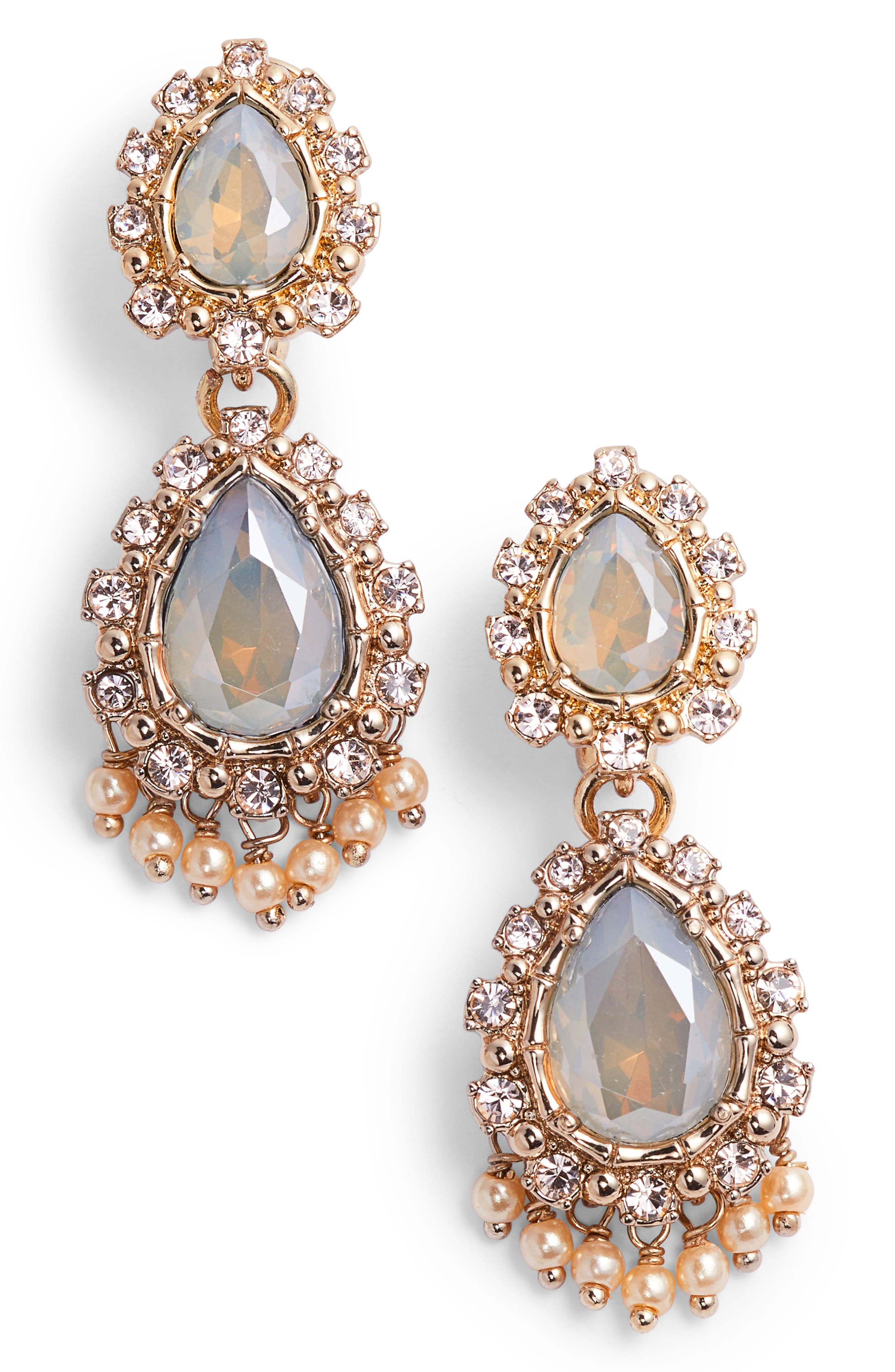 Double Drop Crystal Earrings,                             Main thumbnail 1, color,