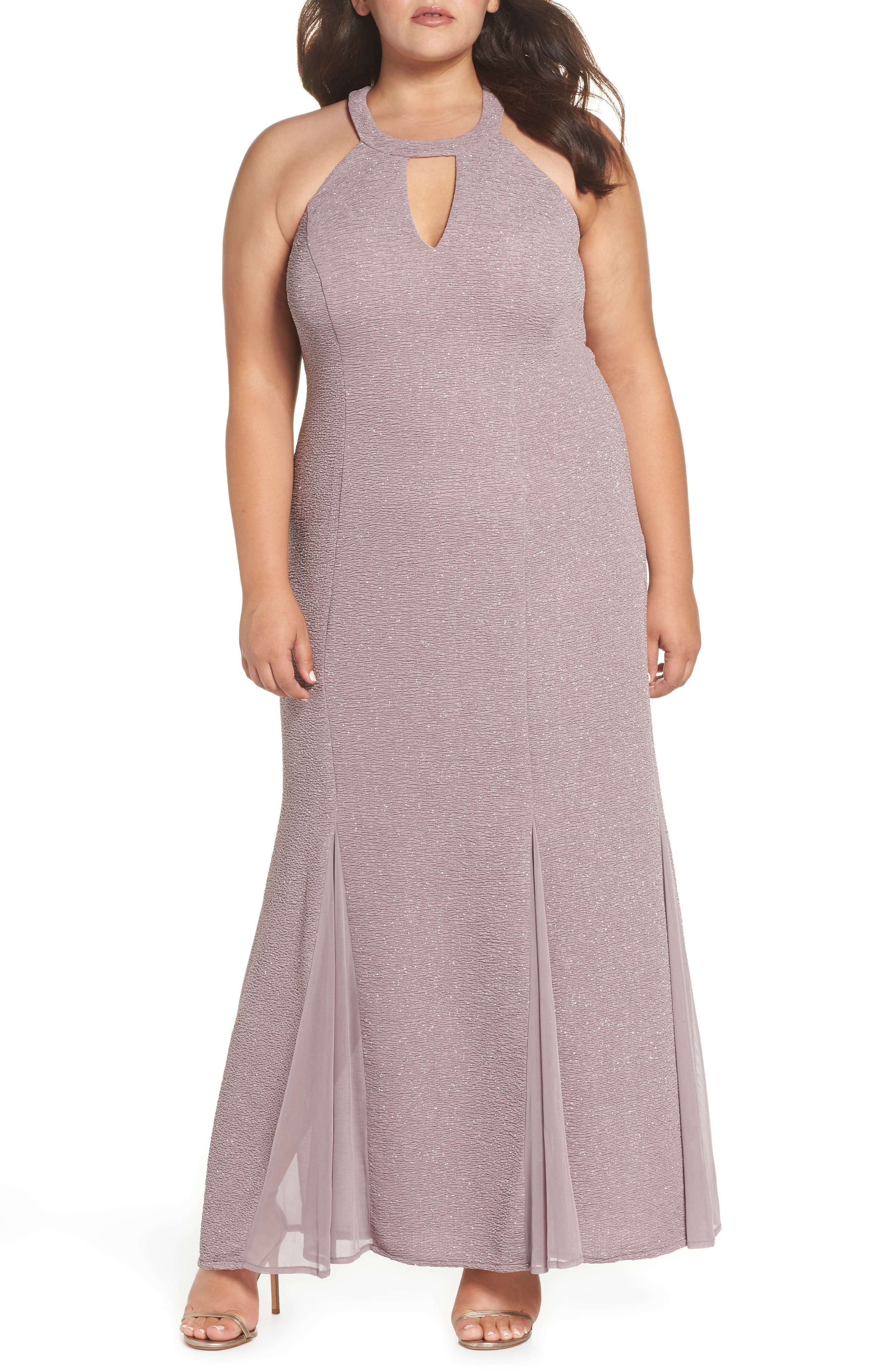 Keyhole Glitter Knit Trumpet Gown,                             Main thumbnail 1, color,                             CHAMPAGNE