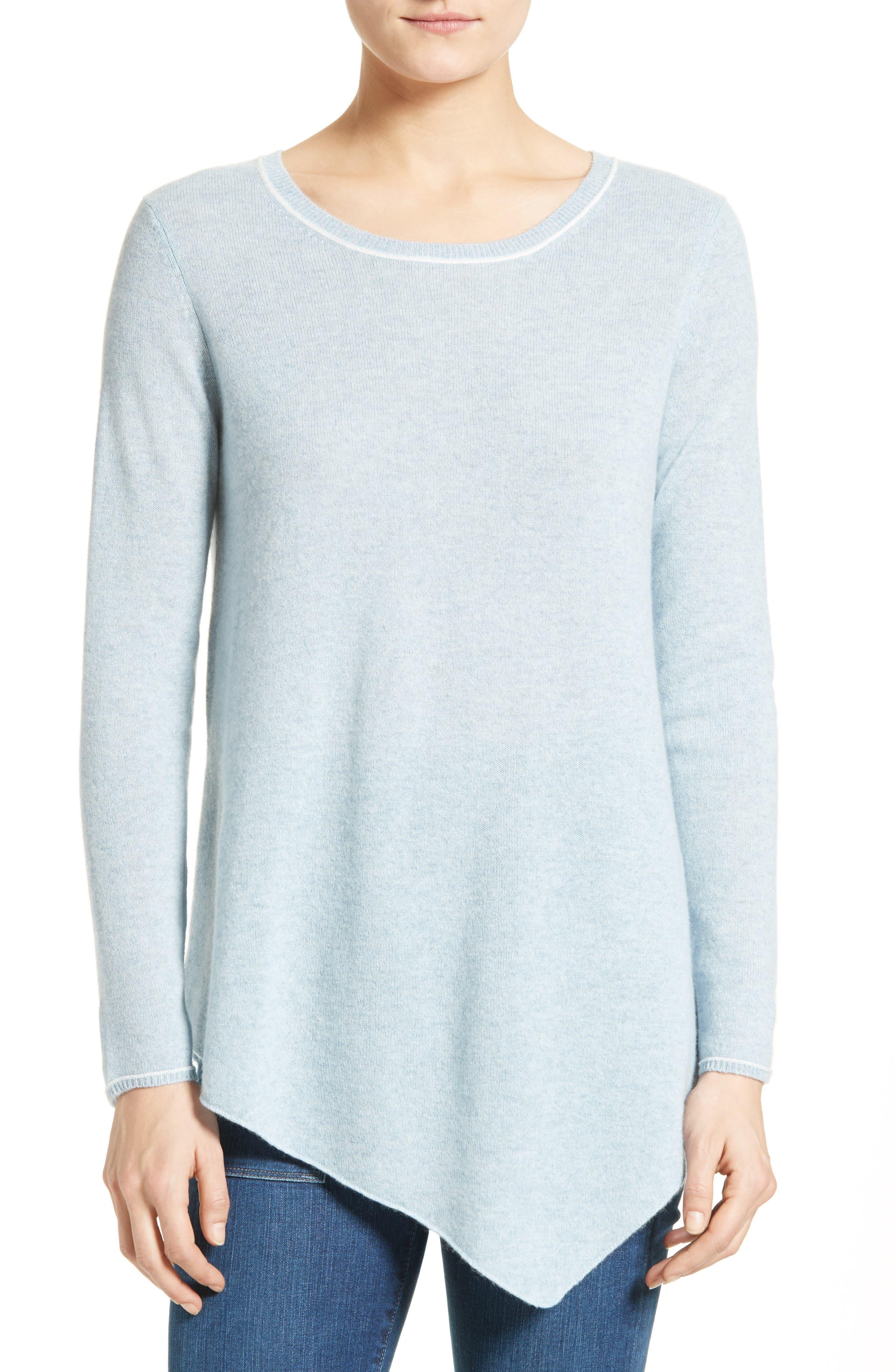 Tambrel H Asymmetrical Hem Cashmere Sweater,                             Main thumbnail 1, color,                             400