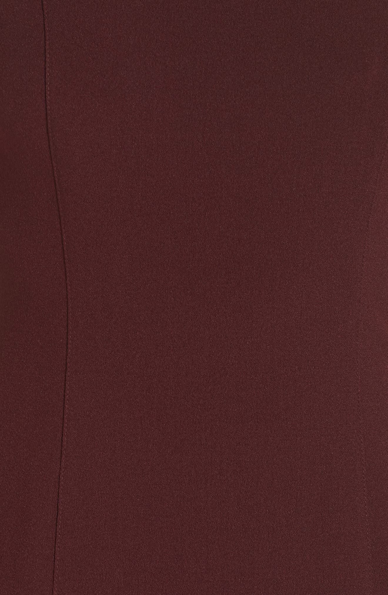 Stretch Crepe Sheath Dress,                             Alternate thumbnail 6, color,                             AUBERGINE