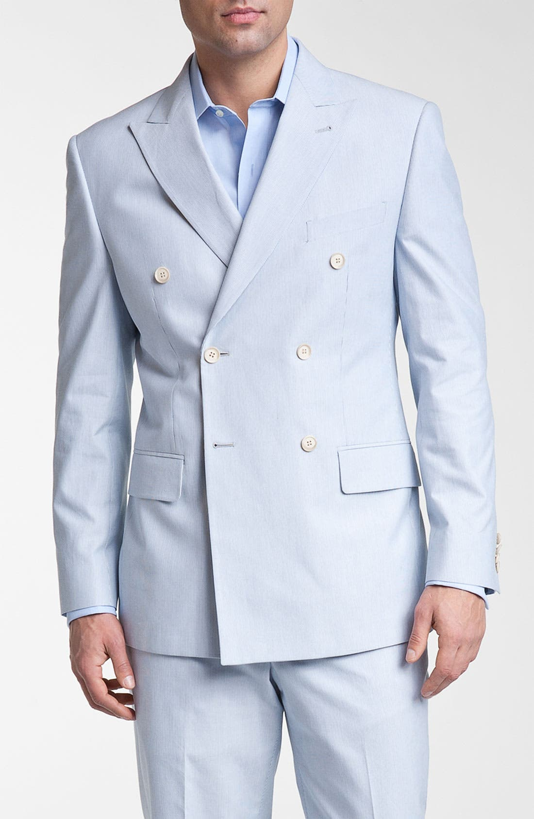 Double Breasted Cotton Seersucker Suit,                             Main thumbnail 1, color,                             400