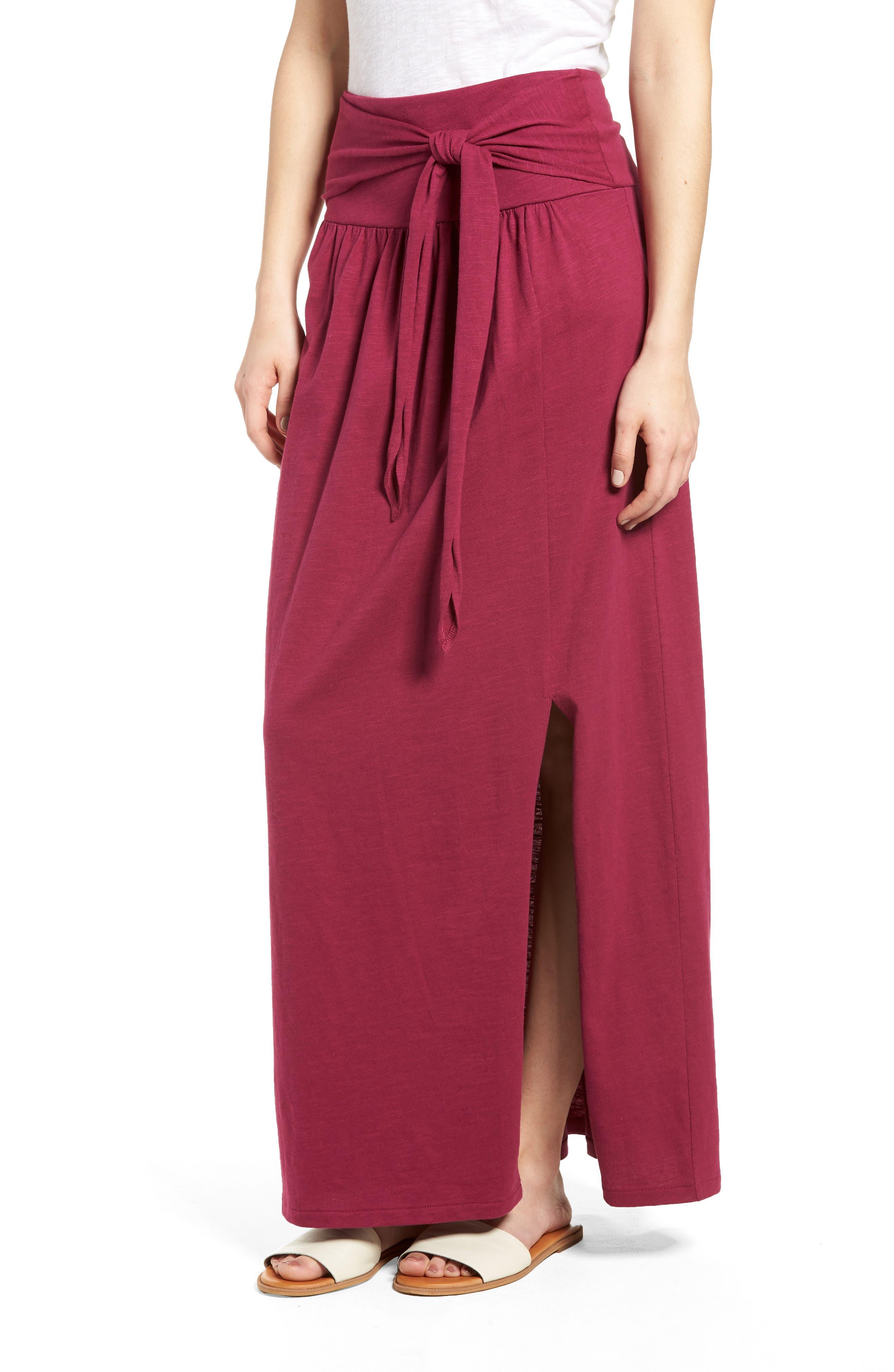 Tie Front Cotton Maxi Skirt,                             Main thumbnail 5, color,