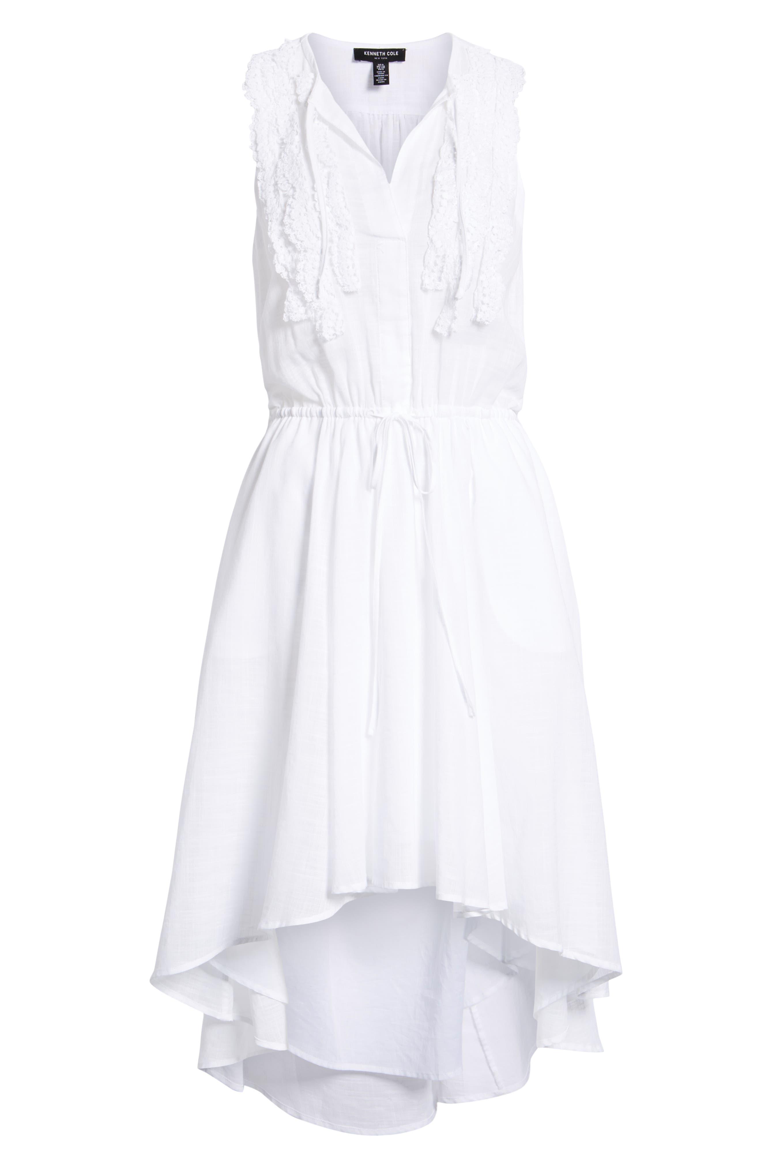 Crochet Trim High/Low Dress,                             Alternate thumbnail 7, color,                             WHITE