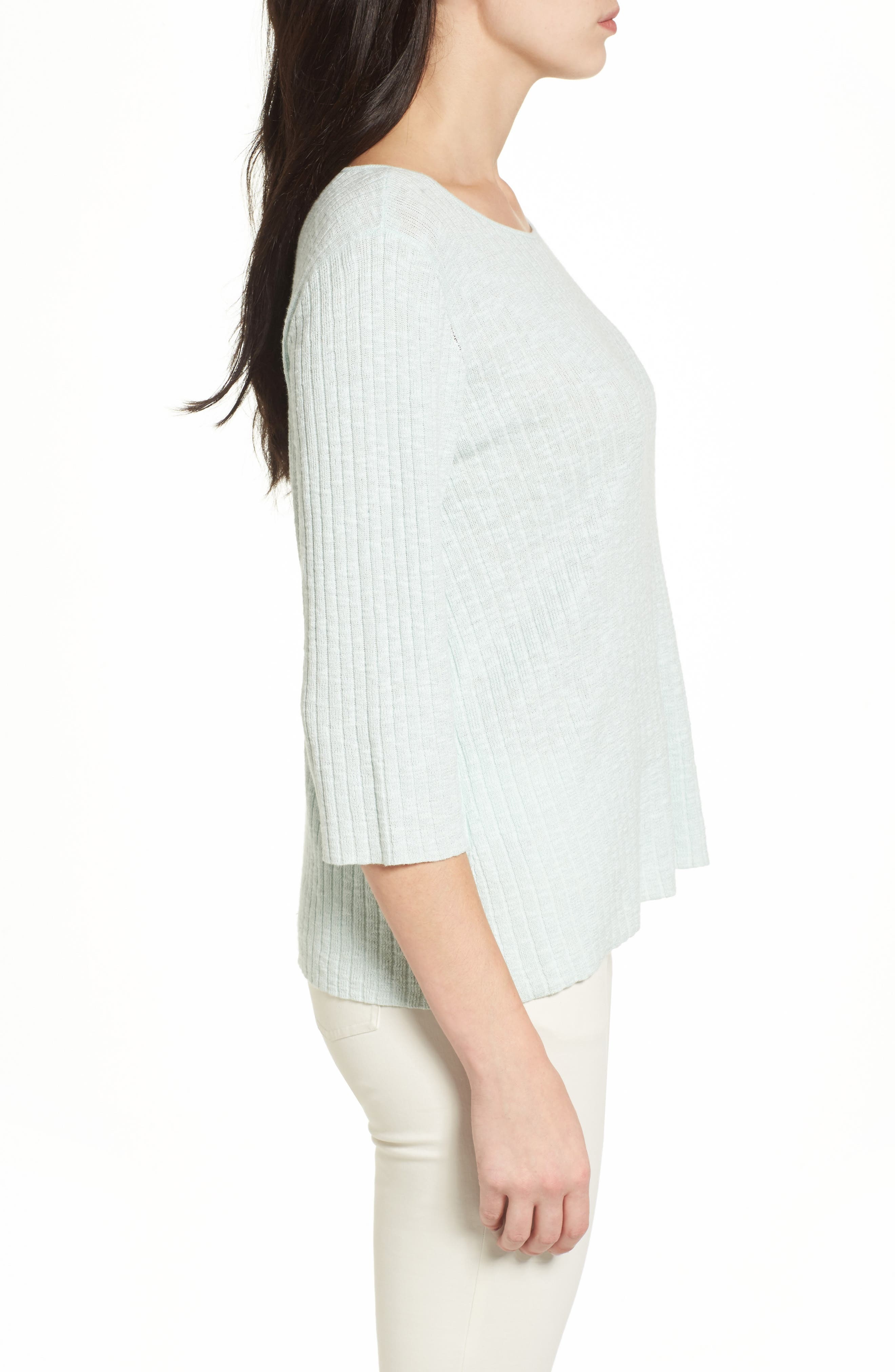 Ribbed Organic Linen & Cotton Sweater,                             Alternate thumbnail 5, color,
