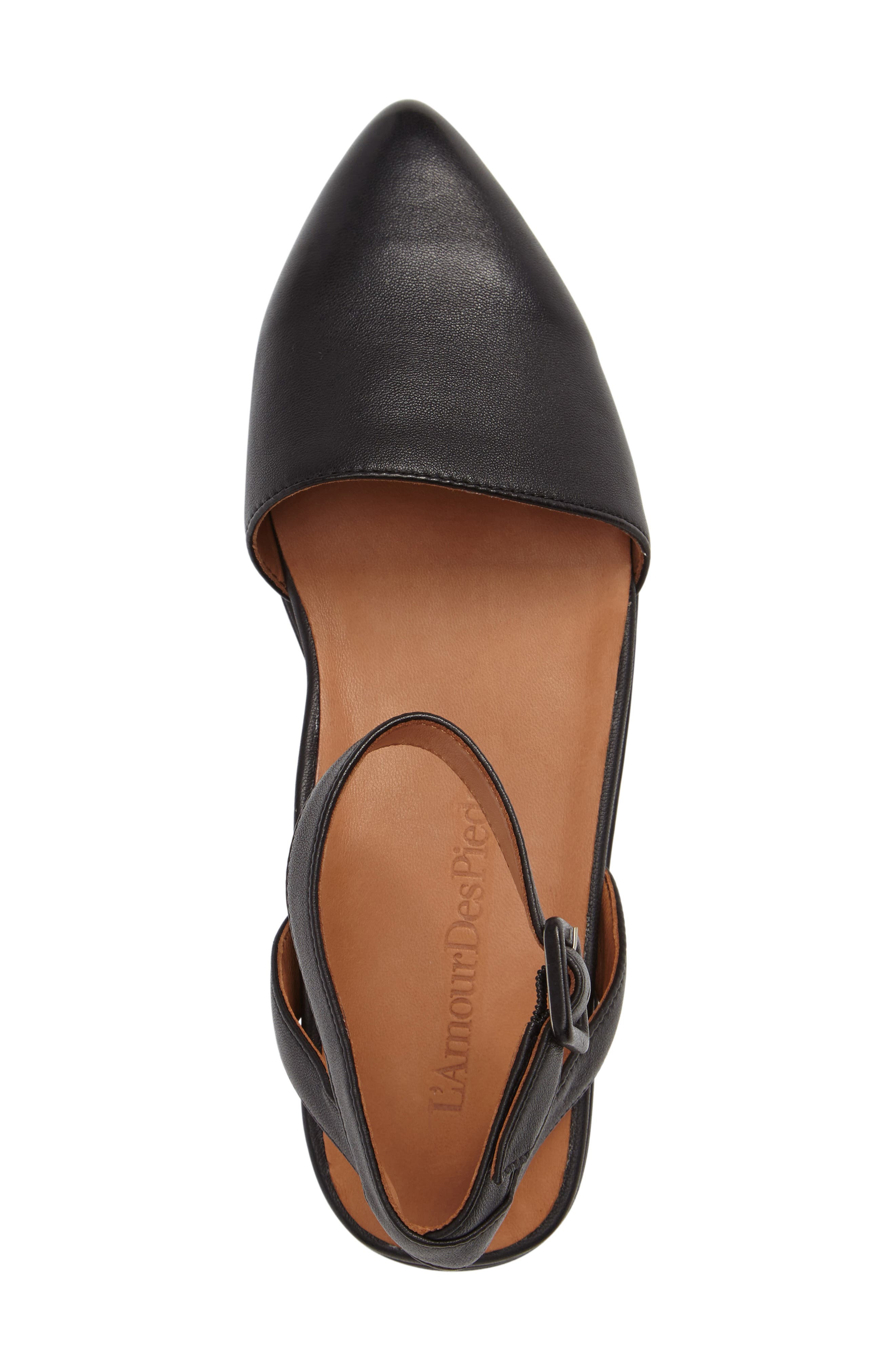 Madolen Strappy Flat,                             Alternate thumbnail 3, color,                             BLACK LEATHER