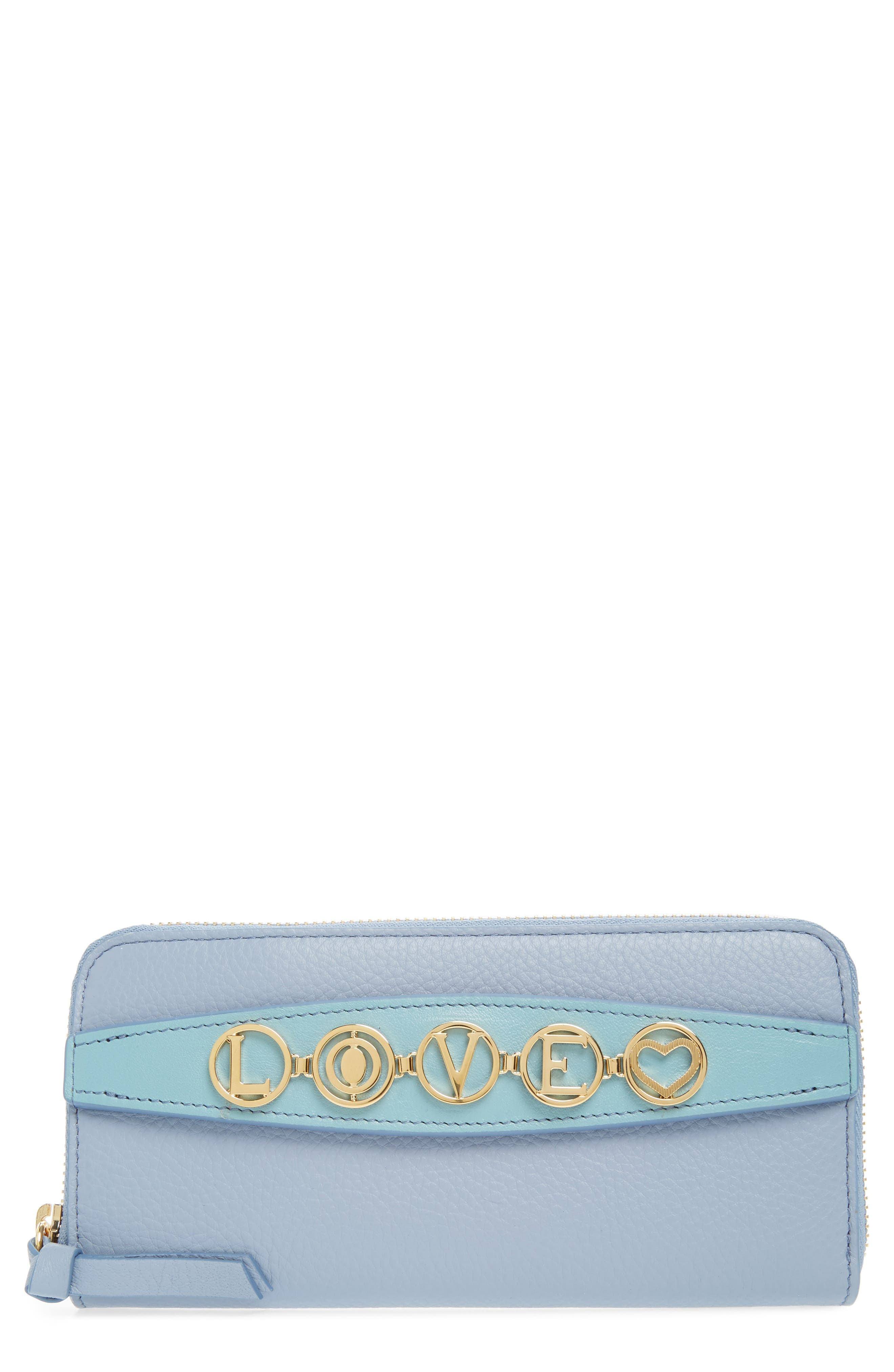 Messages Love Zip Around Leather Wallet,                             Main thumbnail 1, color,                             WASHED BLUE