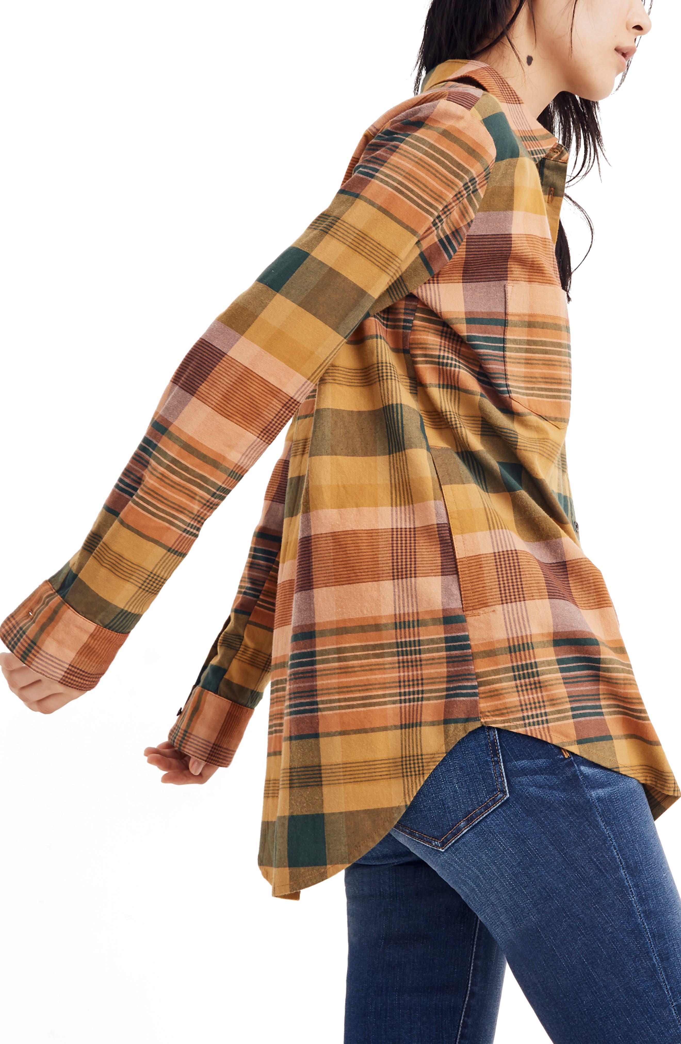 Seconda Plaid Sunday Flannel Shirt,                             Alternate thumbnail 3, color,                             EGYPTIAN GOLD