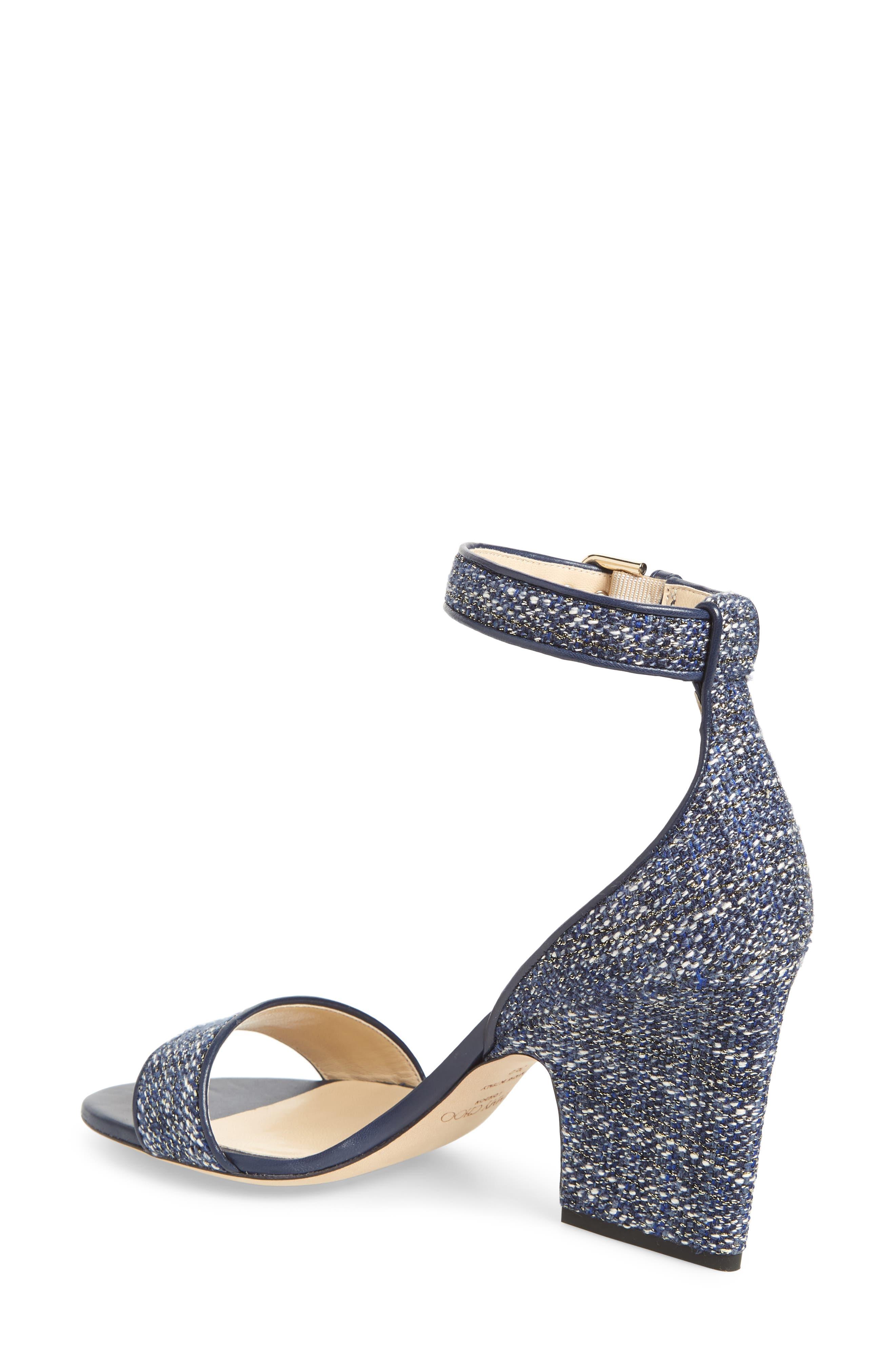 Edina Ankle Strap Sandal,                             Alternate thumbnail 2, color,                             NAVY GLITTER