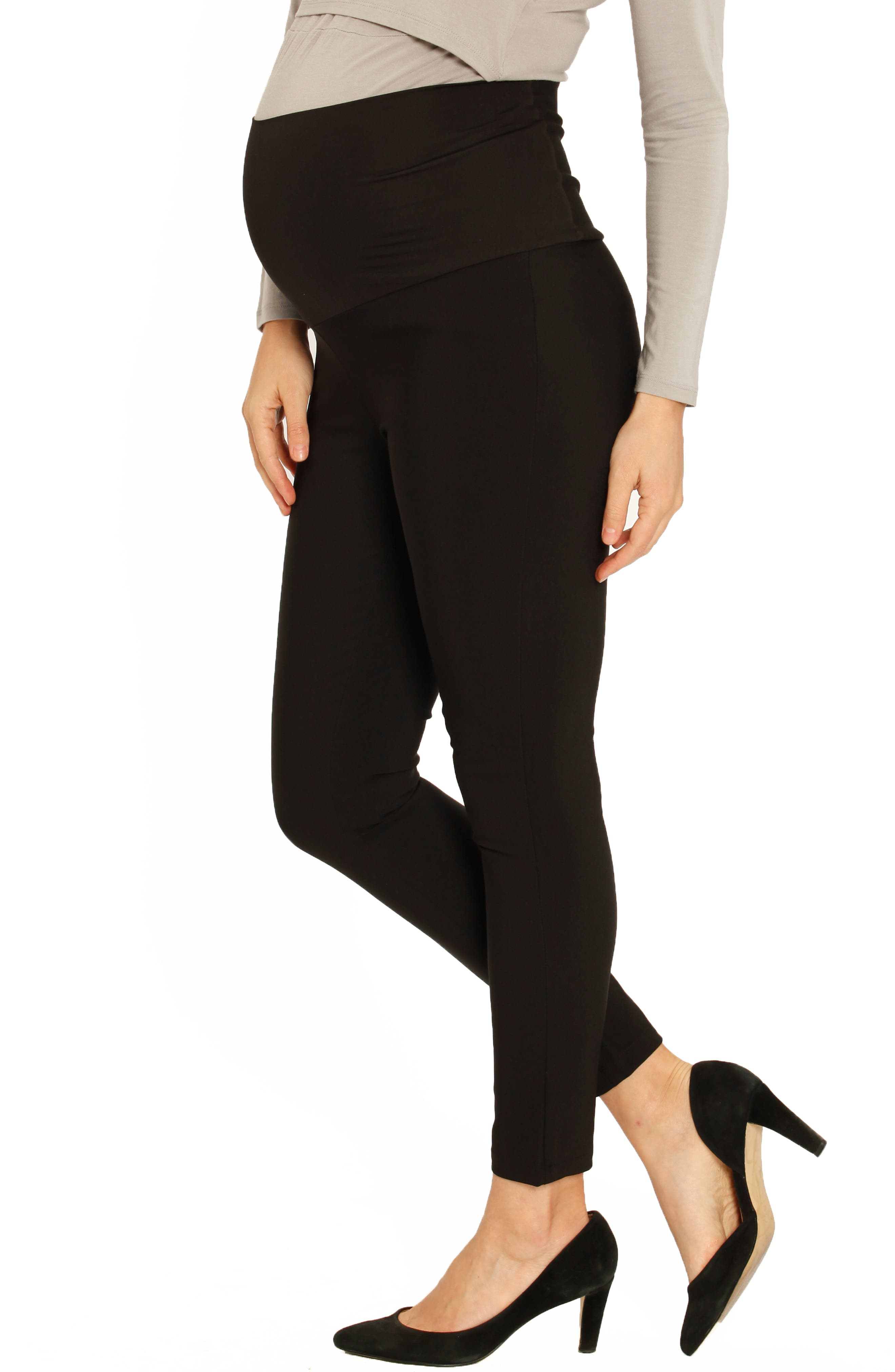 Fitted Straight Leg Maternity Pants,                             Alternate thumbnail 4, color,                             BLACK