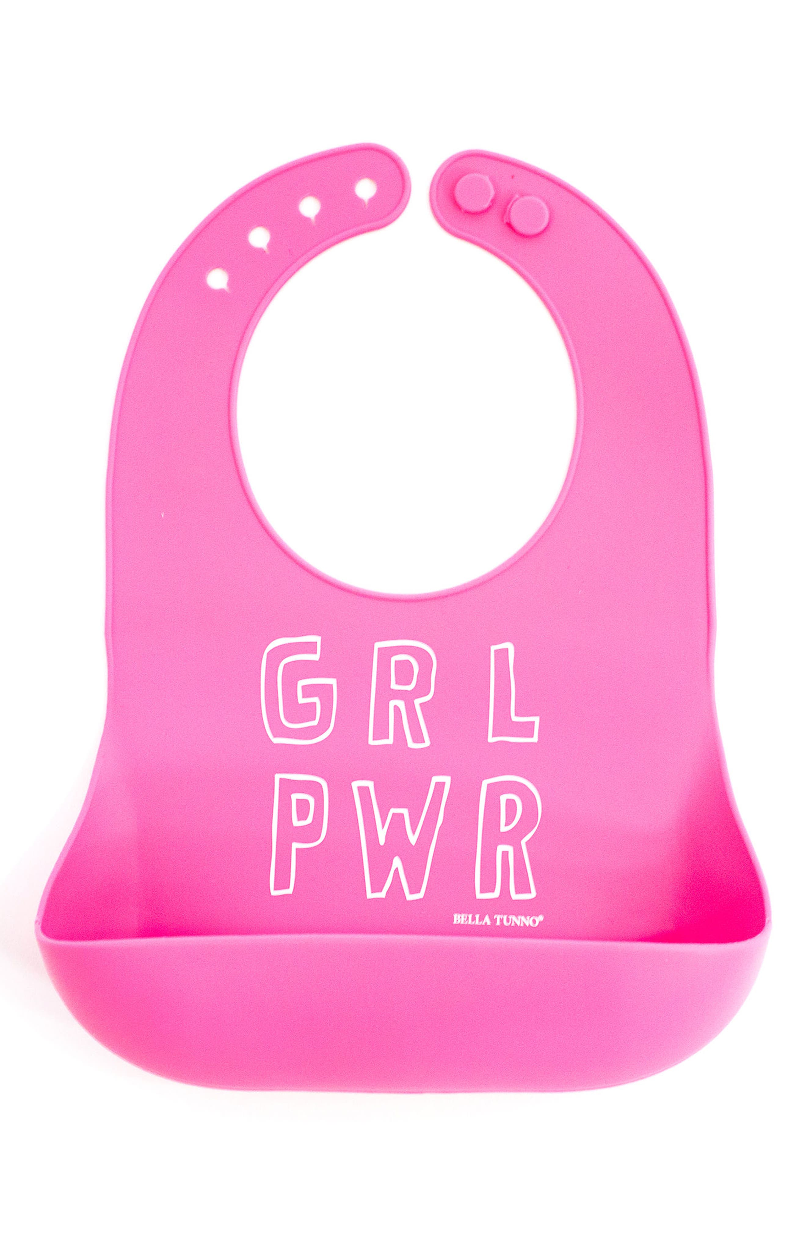 Girl Power Wonder Bib,                             Main thumbnail 1, color,                             PINK