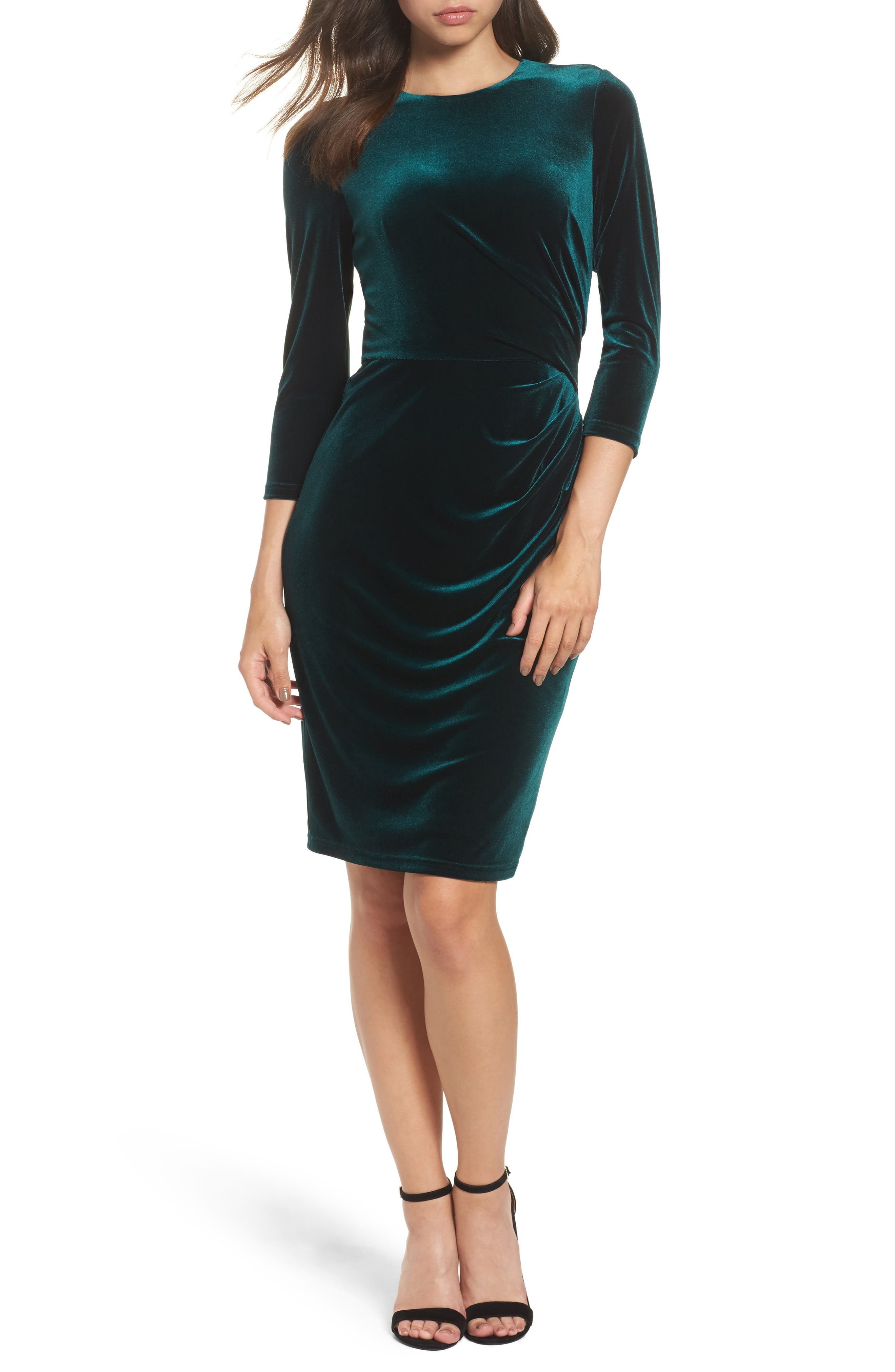Eliza J Velvet Sheath Cocktail Dress, Green