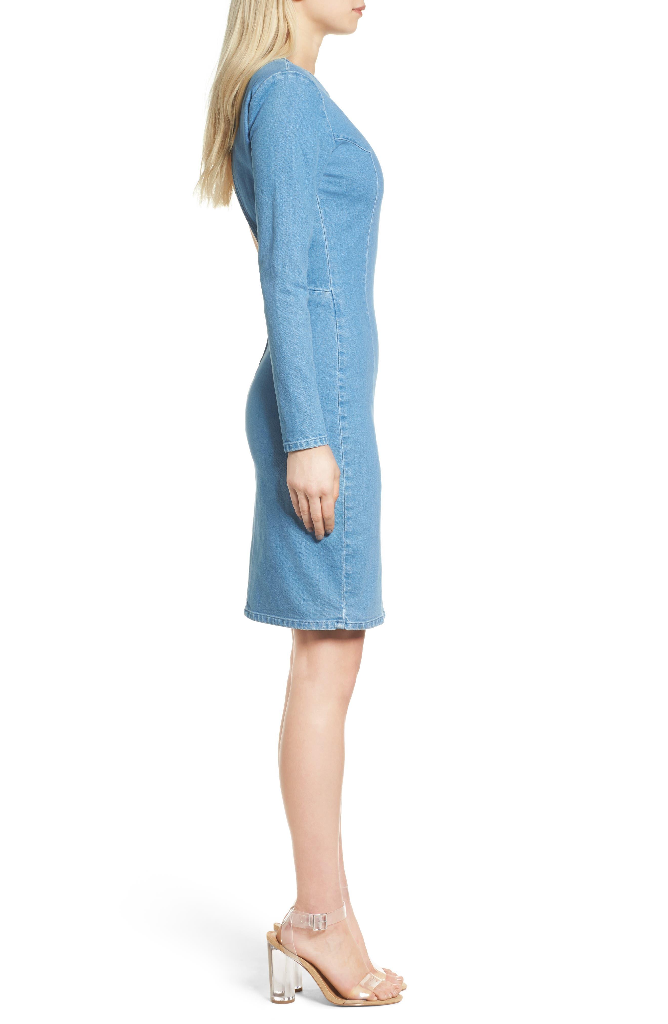 Long Sleeve Denim Dress,                             Alternate thumbnail 3, color,                             491