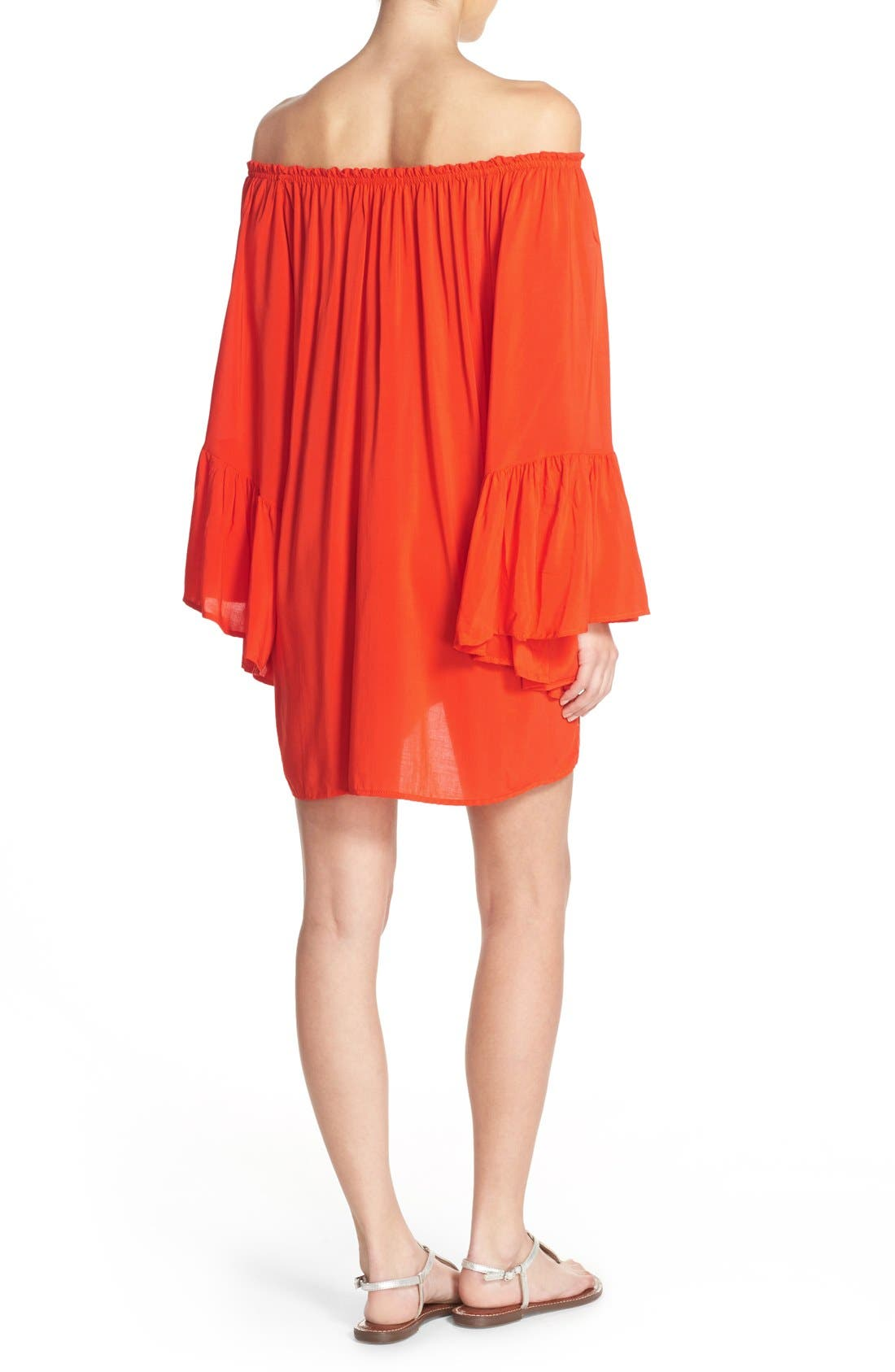 Bell Sleeve Cover-Up Tunic Dress,                             Alternate thumbnail 9, color,