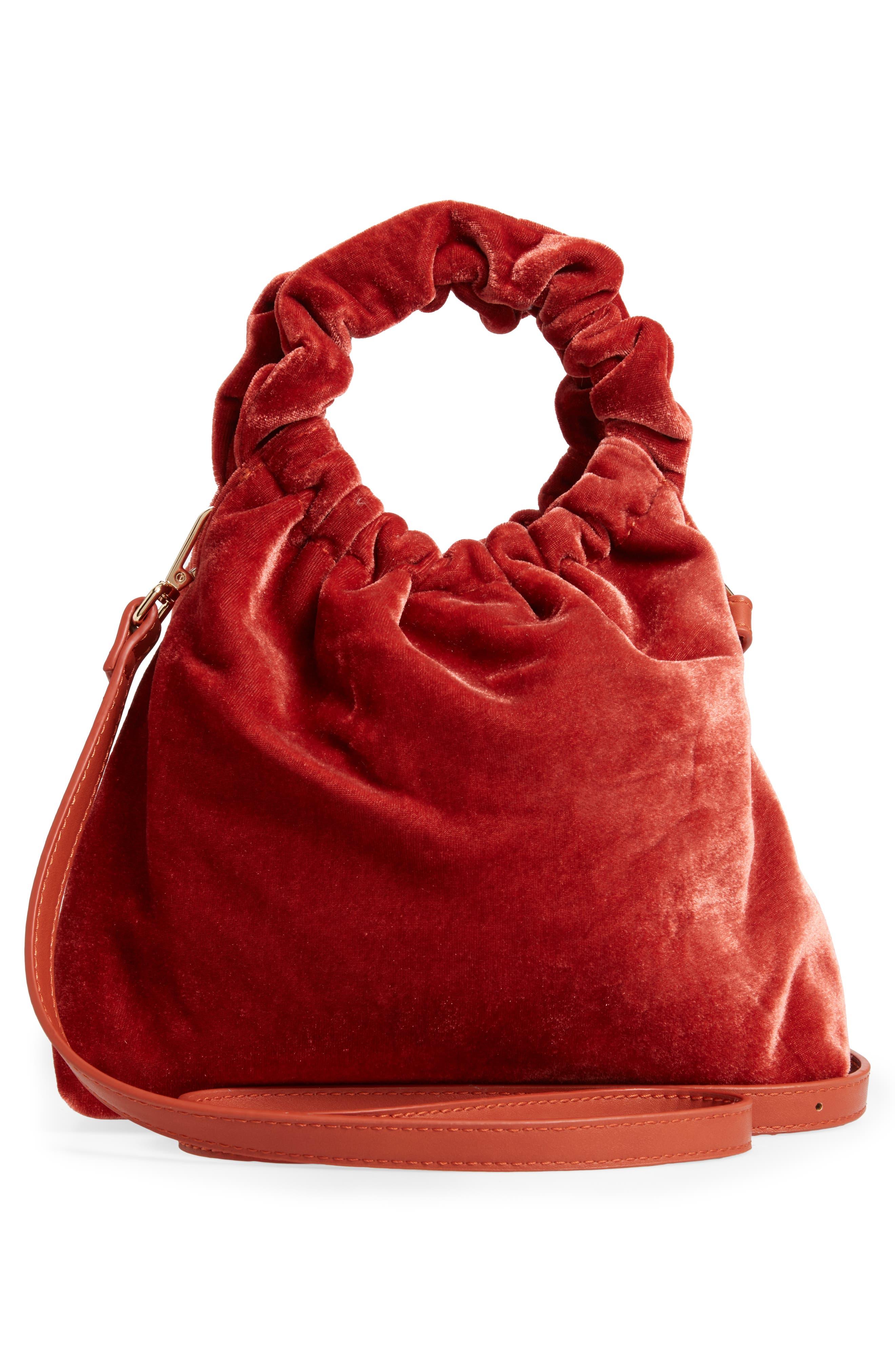 Mini Tyll Velvet Top Handle Bag,                             Alternate thumbnail 3, color,                             RUST