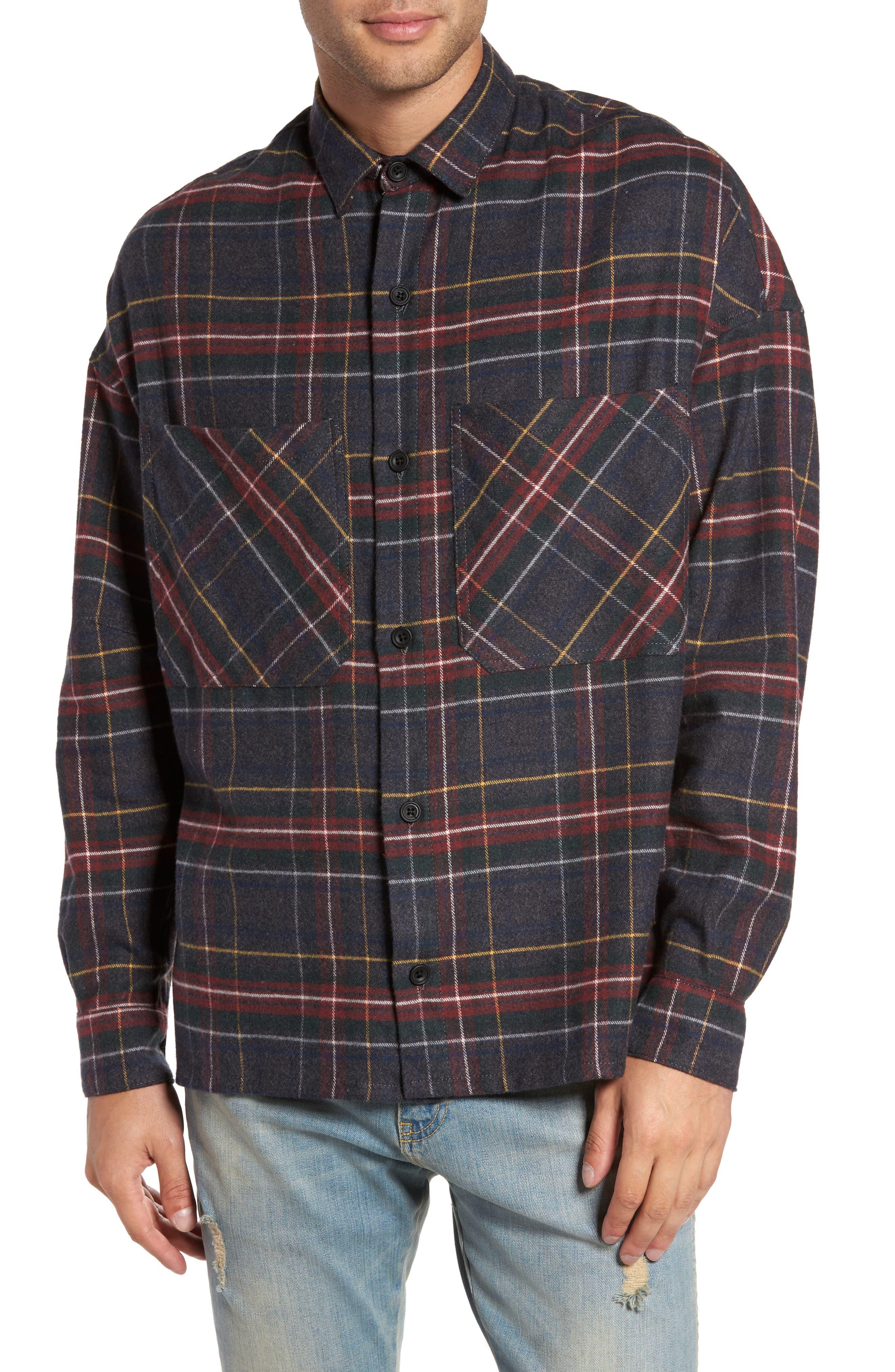Standard Fit Plaid Sport Shirt,                         Main,                         color, 020