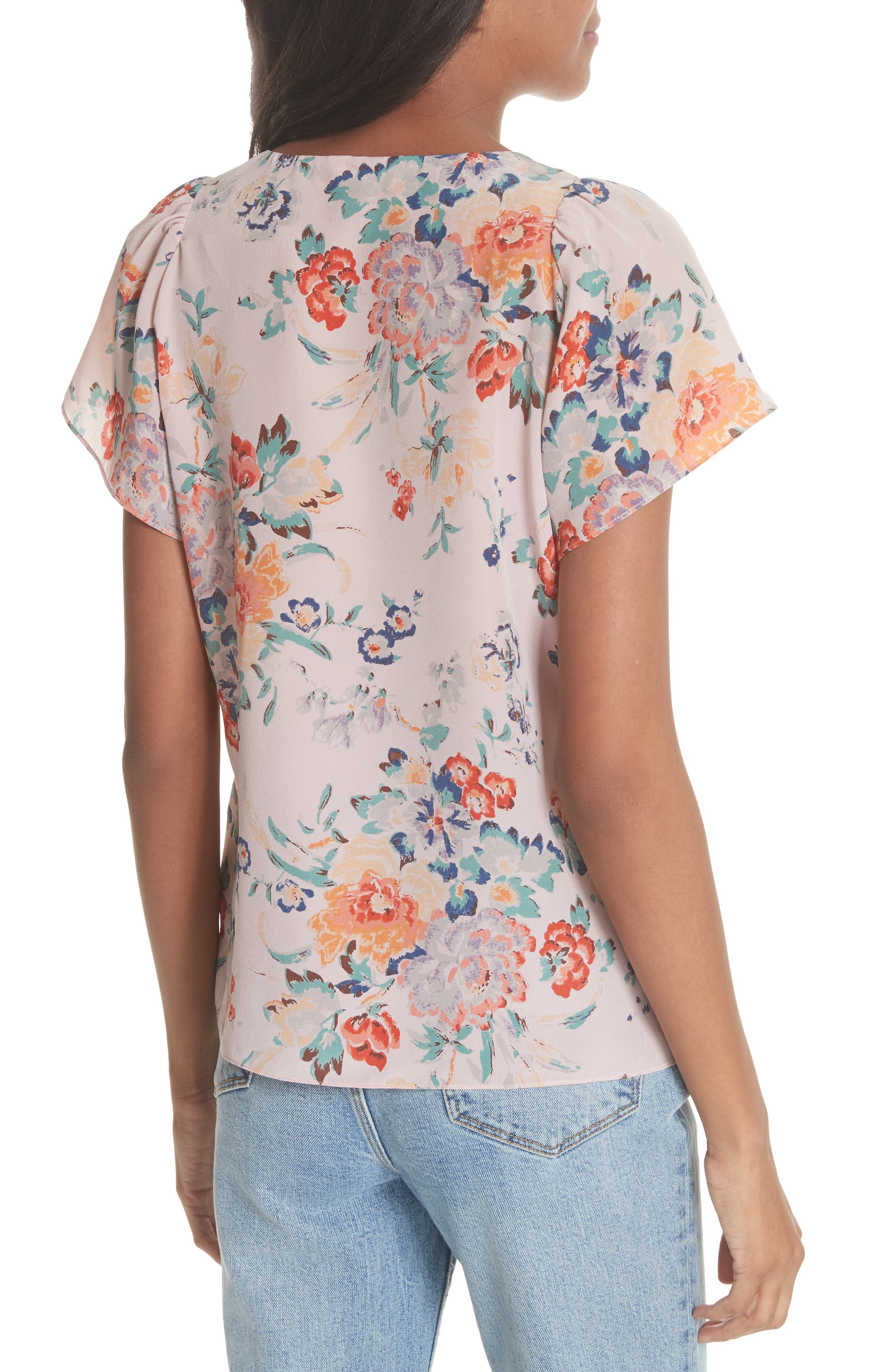 Marlena Floral Silk Blouse,                             Alternate thumbnail 2, color,