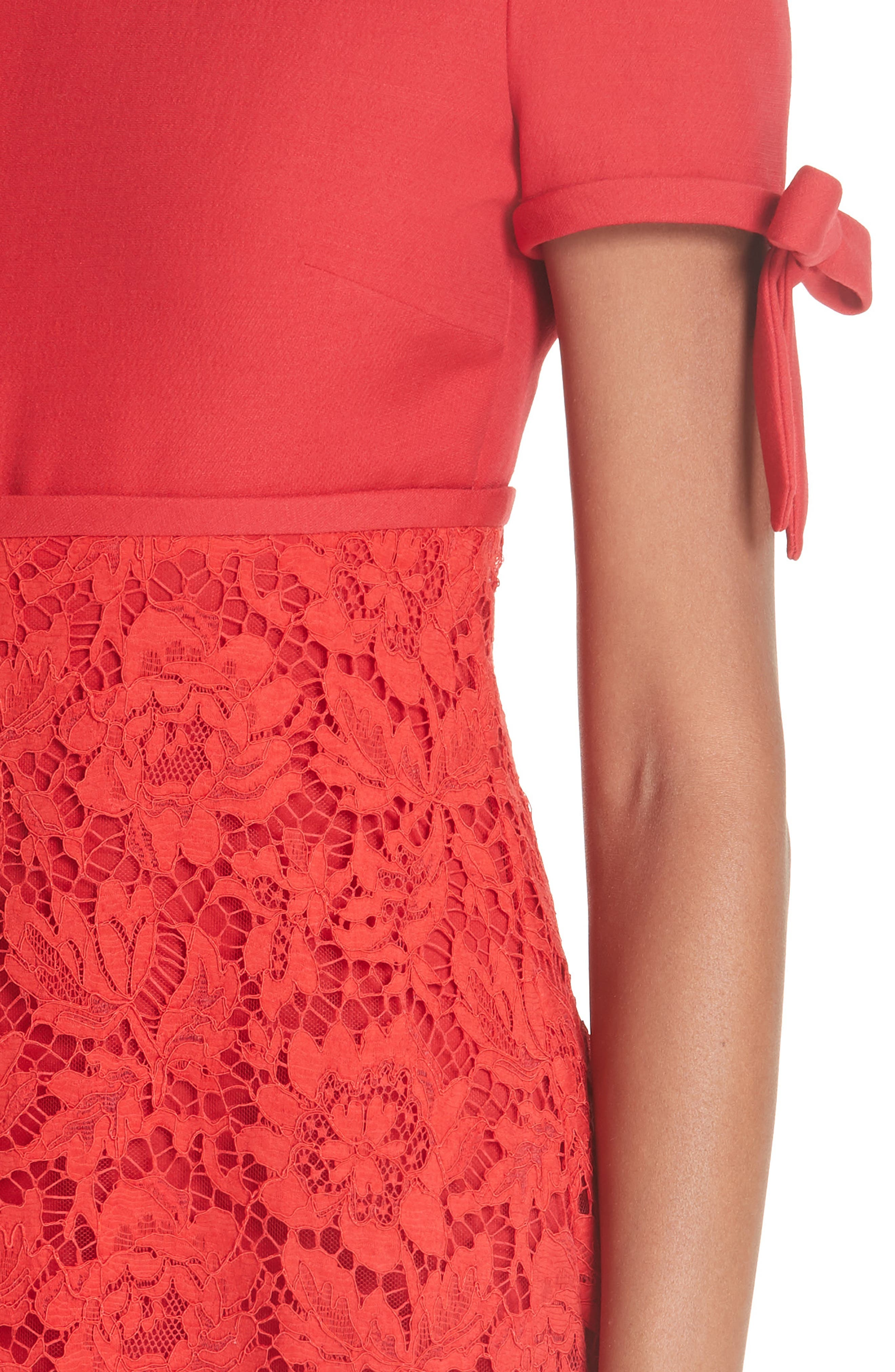 Bow Detail Lace Dress,                             Alternate thumbnail 4, color,                             RED