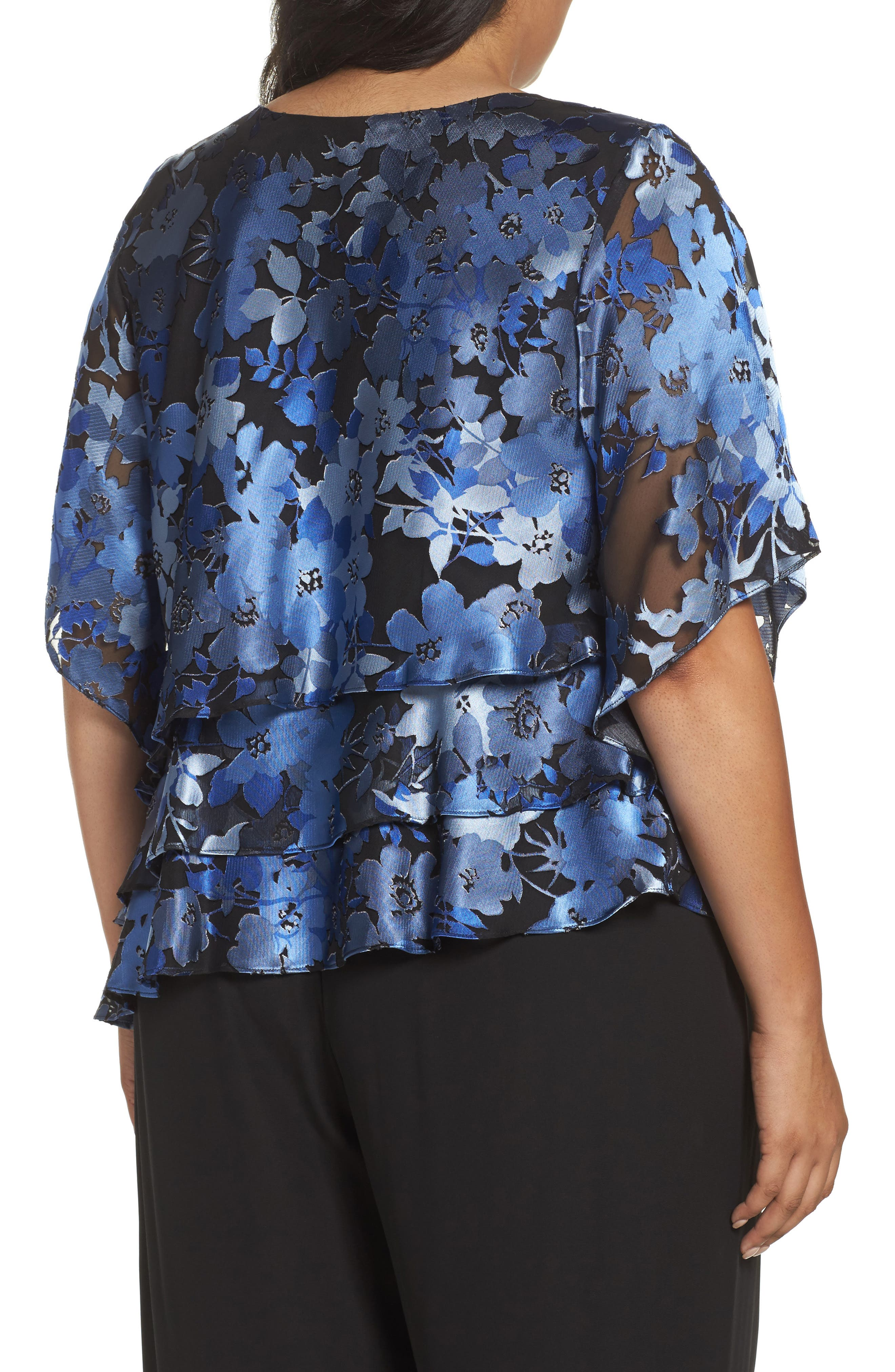 Burnout Floral Blouse,                             Alternate thumbnail 2, color,