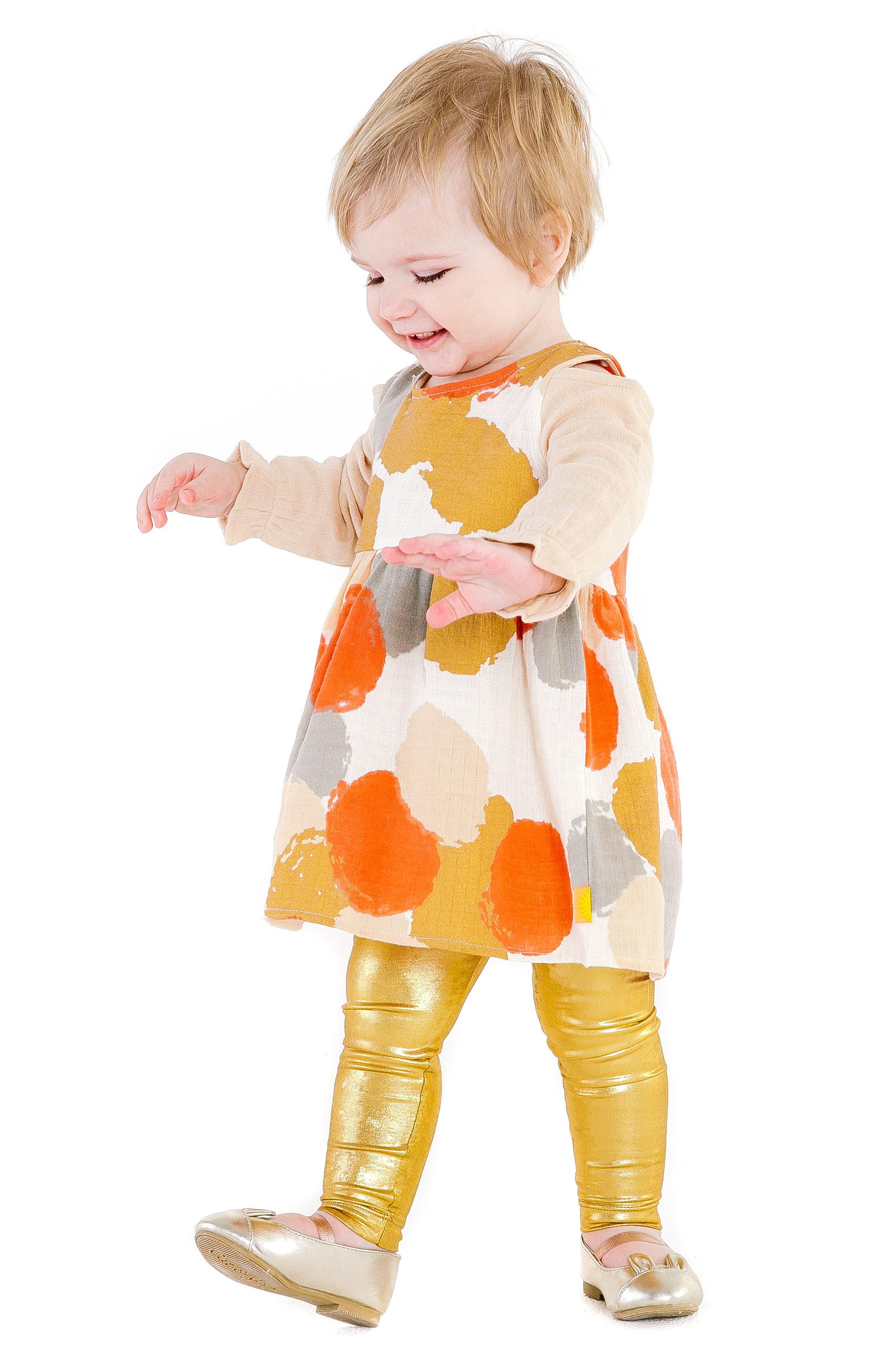 Layla Cold Shoulder Organic Cotton Dress,                             Alternate thumbnail 5, color,                             MULTI