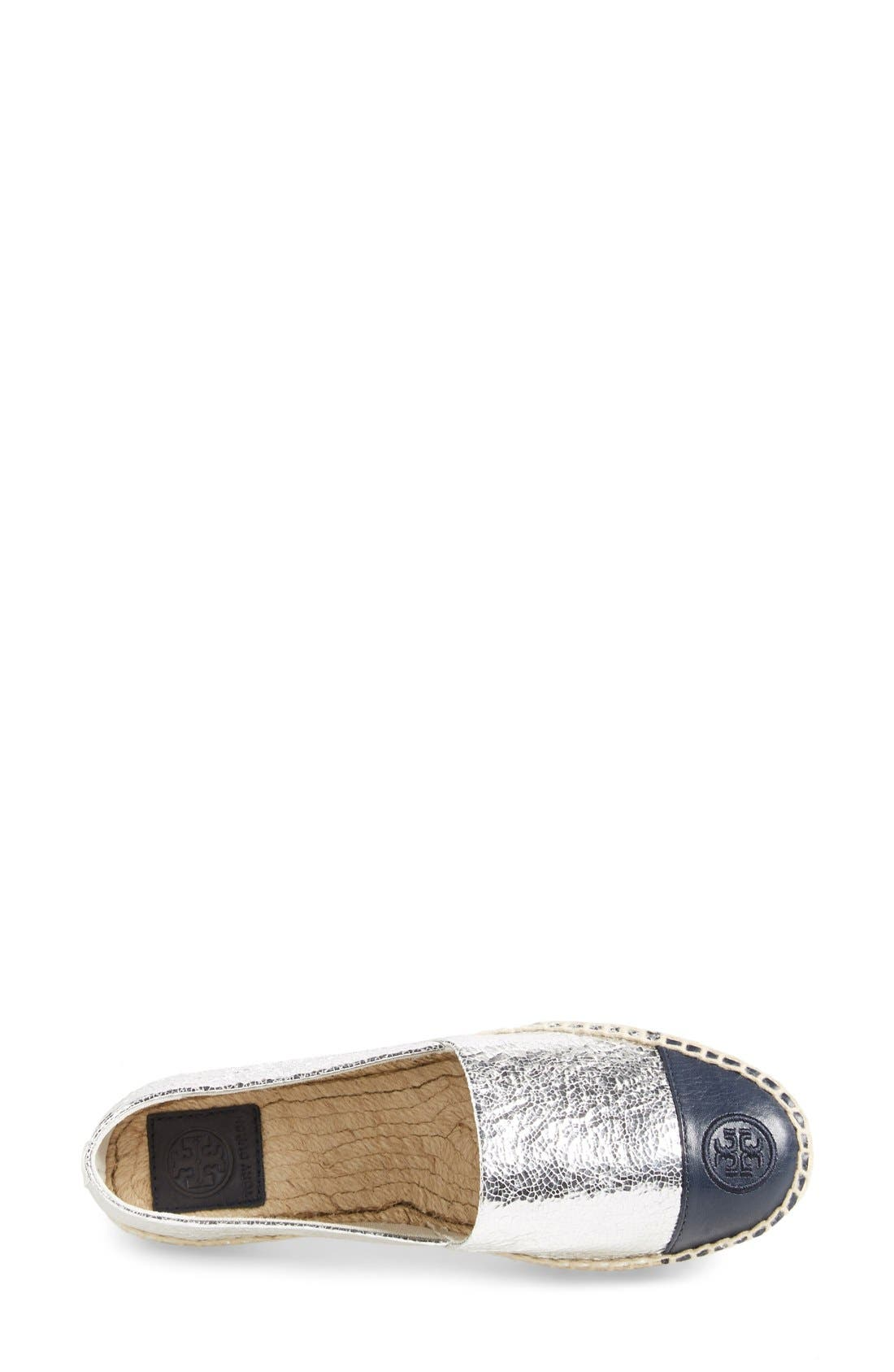 Colorblock Espadrille Flat,                             Alternate thumbnail 9, color,                             SILVER/ TORY NAVY