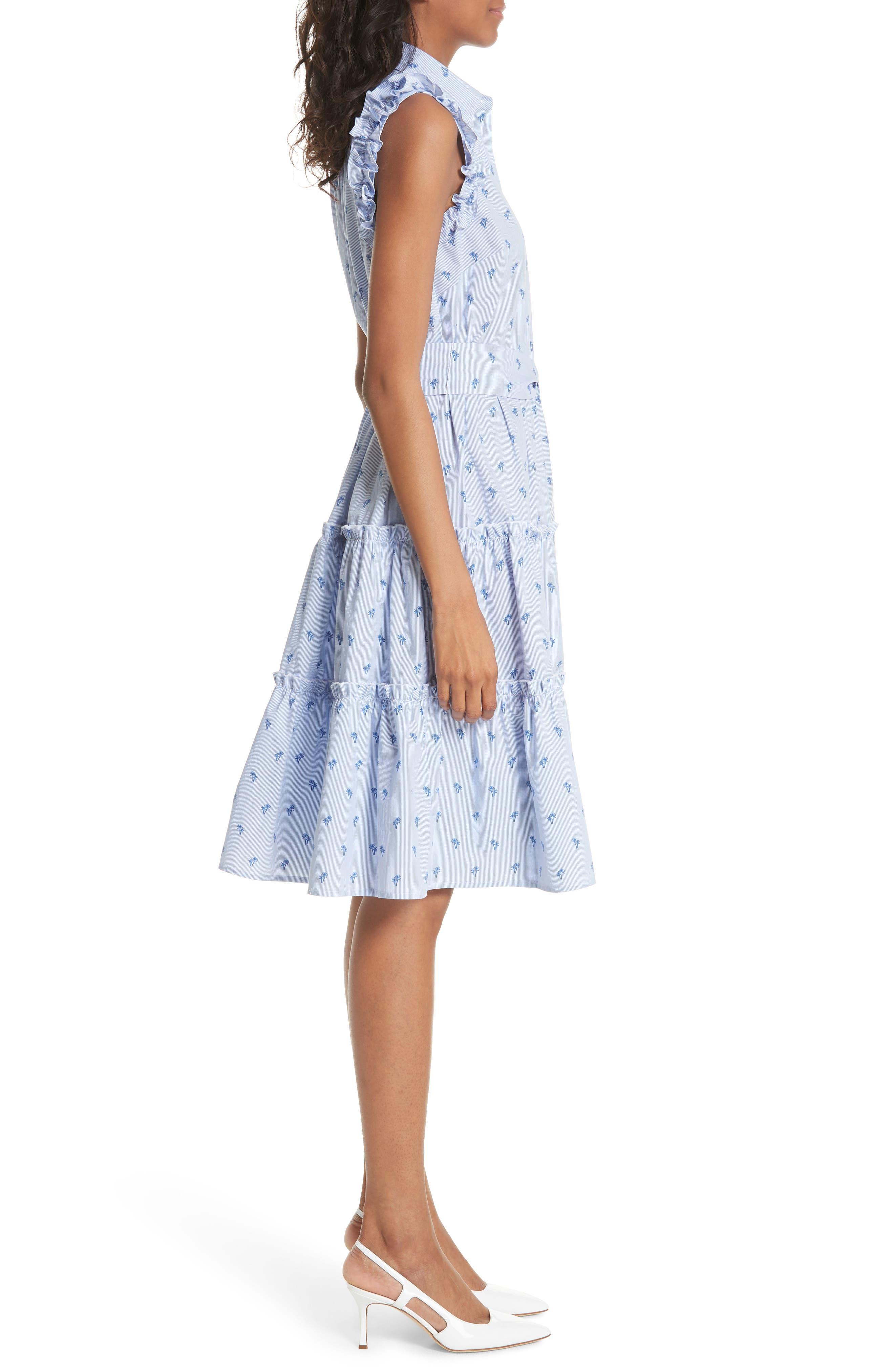 palm tree pinstripe sleeveless cotton dress,                             Alternate thumbnail 3, color,                             436