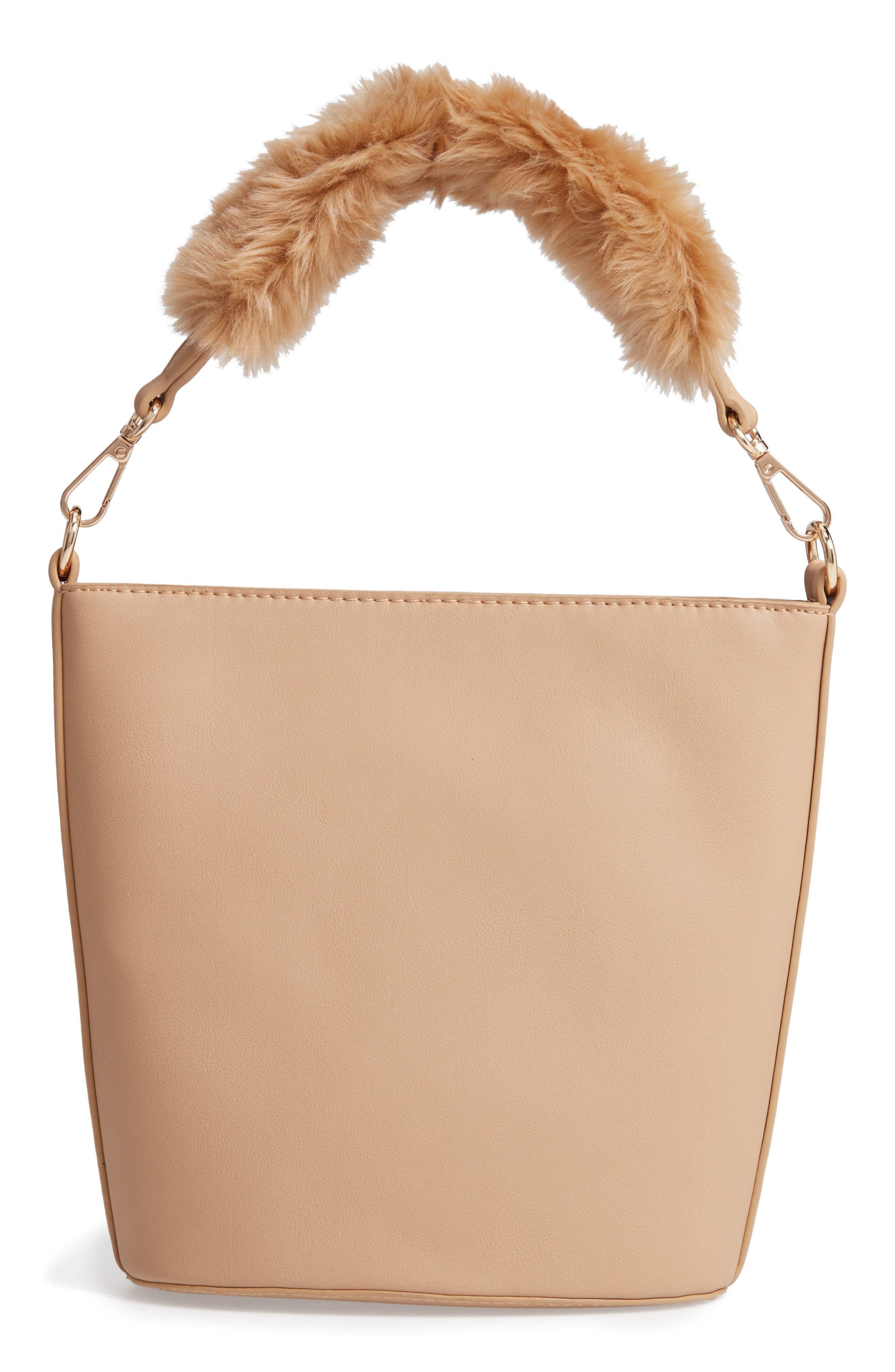 Faux Fur Handle Medium Crossbody Bag,                             Main thumbnail 1, color,                             TAN