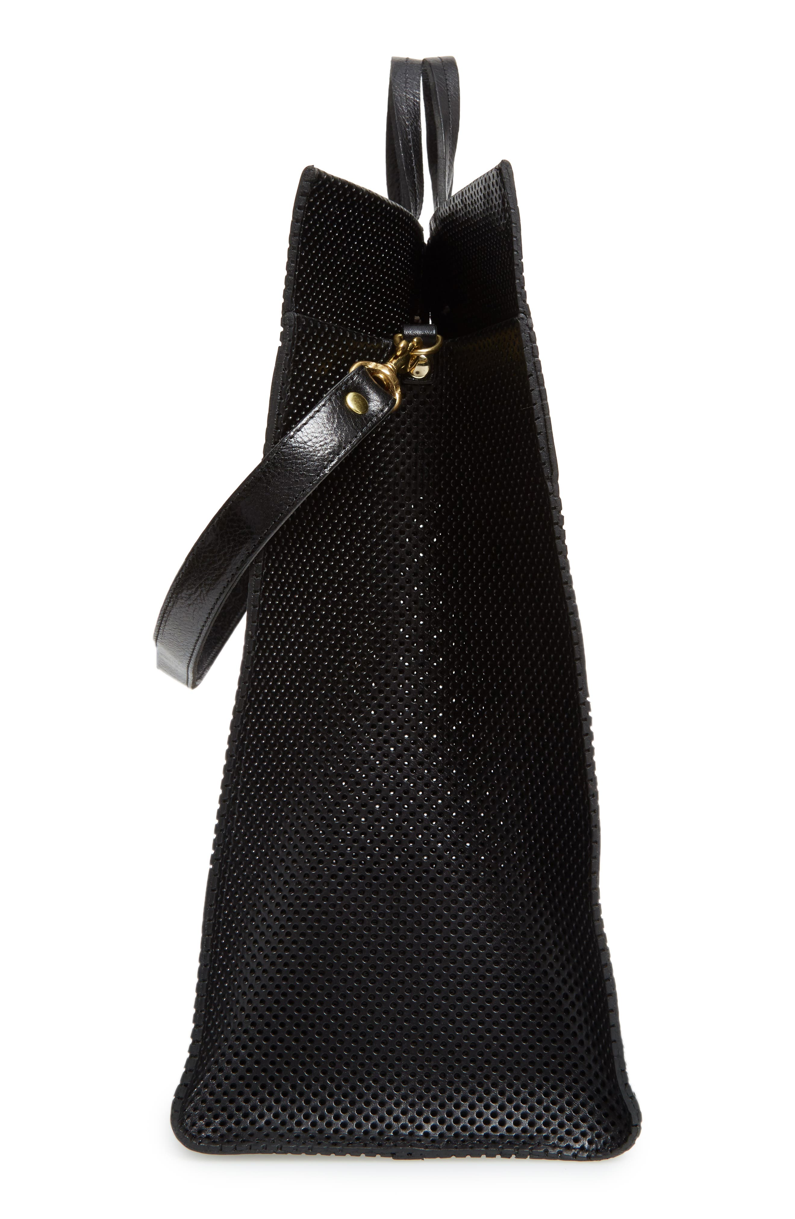 Simple Perforated Leather Tote,                             Alternate thumbnail 5, color,                             001