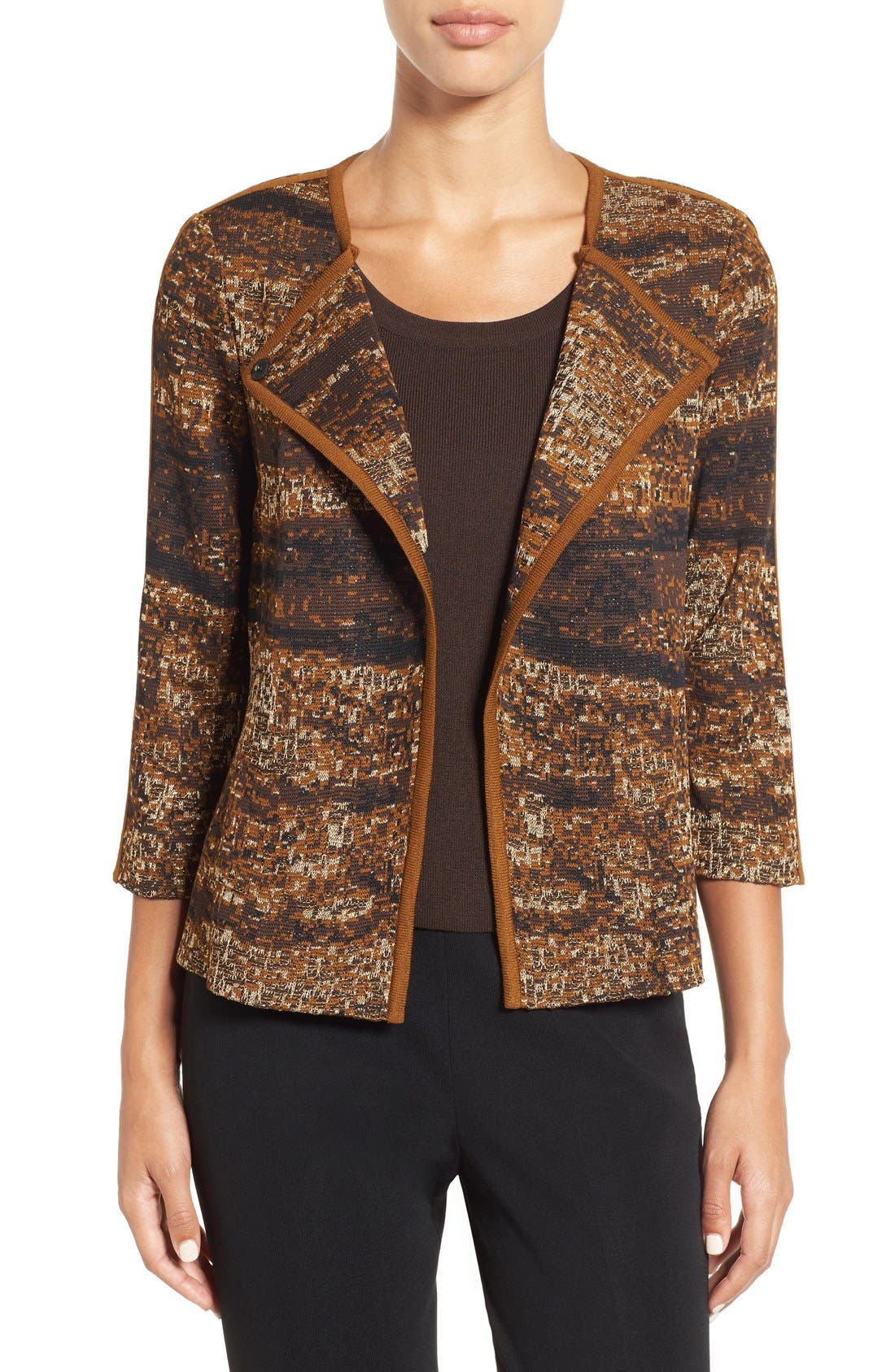 Asymmetrical Jacquard Knit Jacket,                             Main thumbnail 1, color,                             241