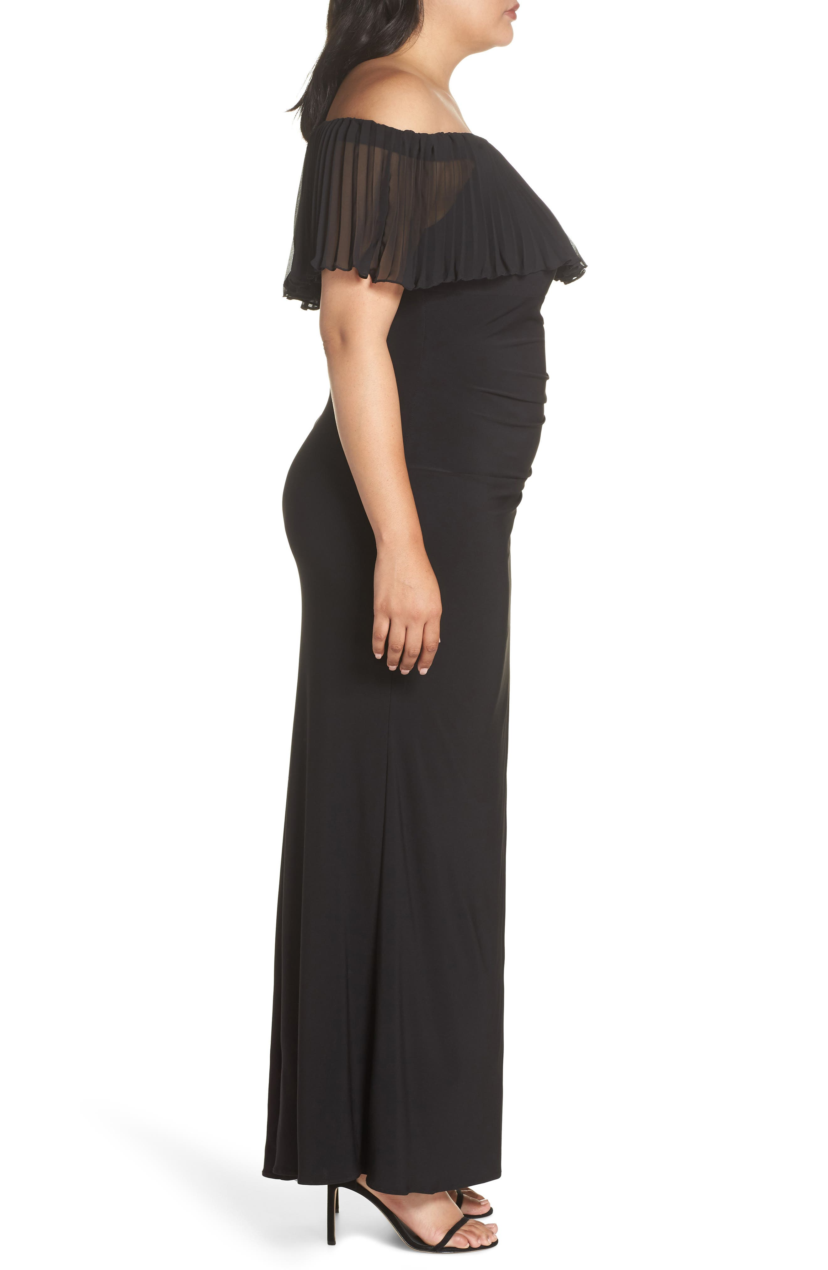 Pleated Chiffon Popover Gown,                             Alternate thumbnail 3, color,                             BLACK
