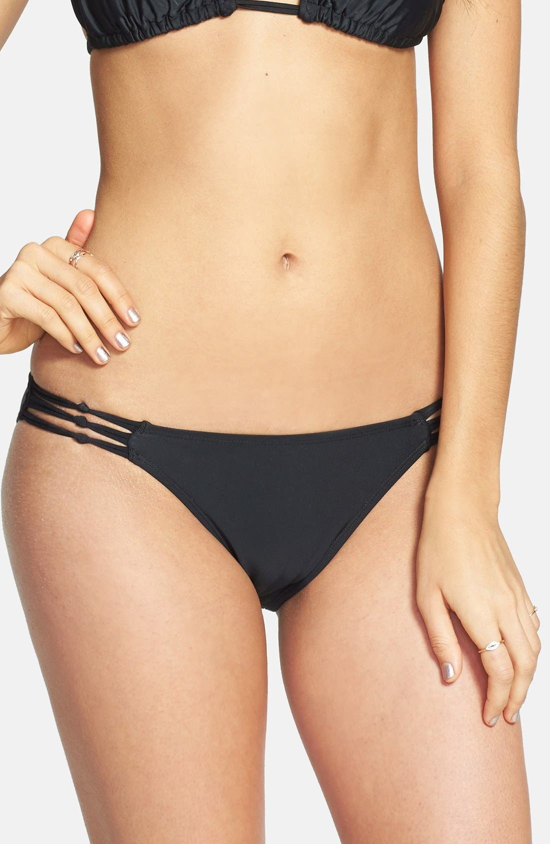 BP. UNDERCOVER,                             Knotted Side Bikini Bottoms,                             Main thumbnail 1, color,                             001
