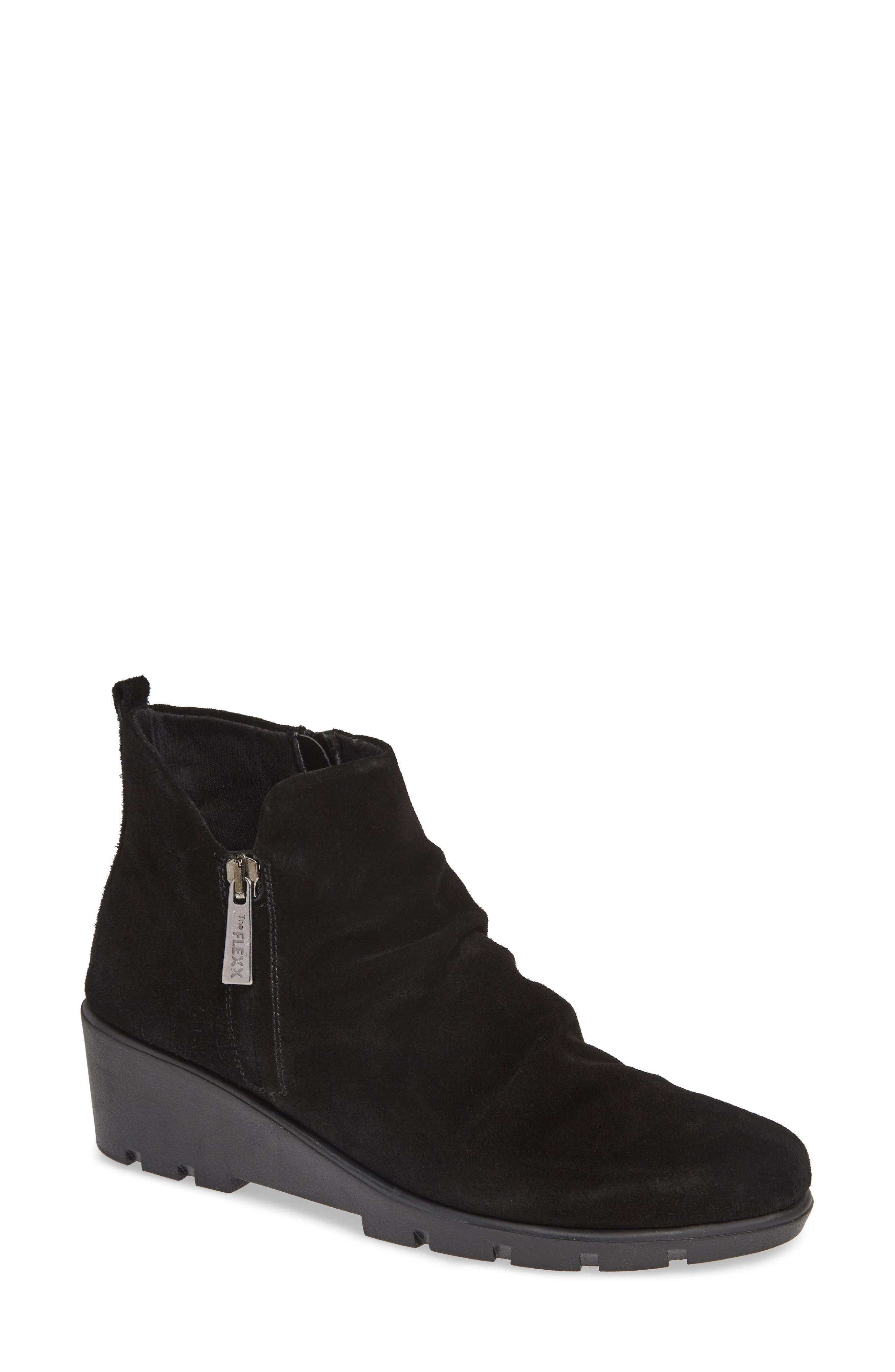 Slingshot Ankle Bootie,                         Main,                         color, BLACK WATERPROOF SUEDE