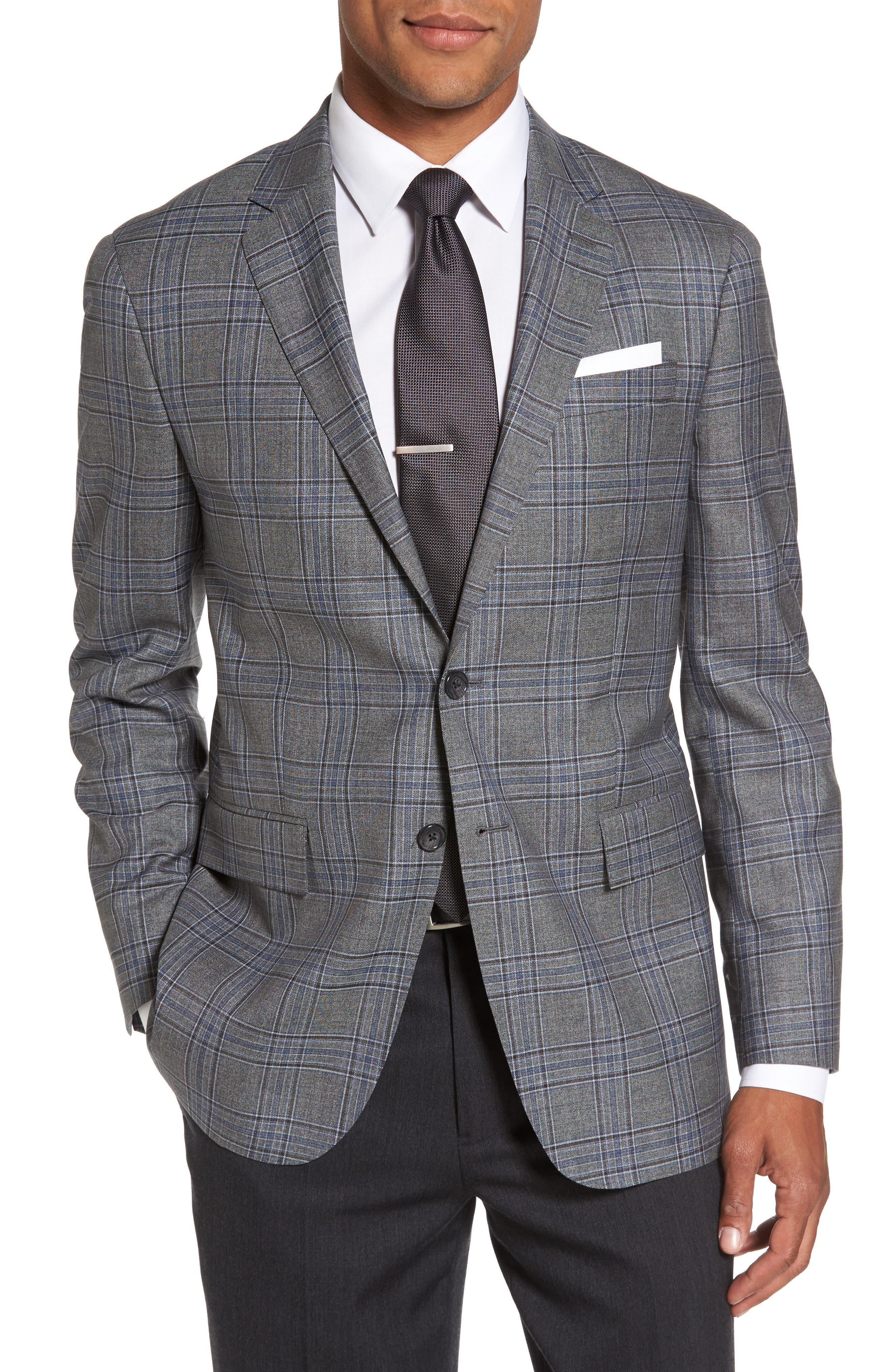 Trim Fit Plaid Wool Sport Coat,                             Main thumbnail 1, color,                             030