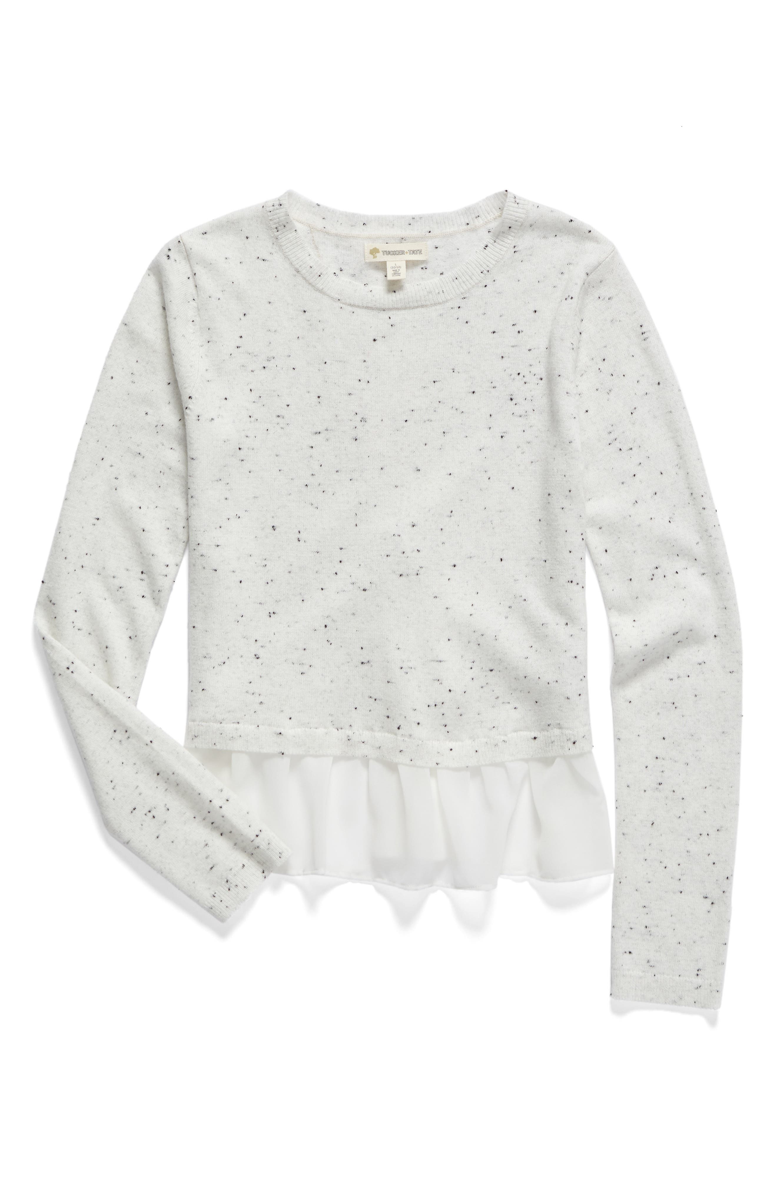 Mixed Media Crossover Sweater,                             Main thumbnail 1, color,                             900
