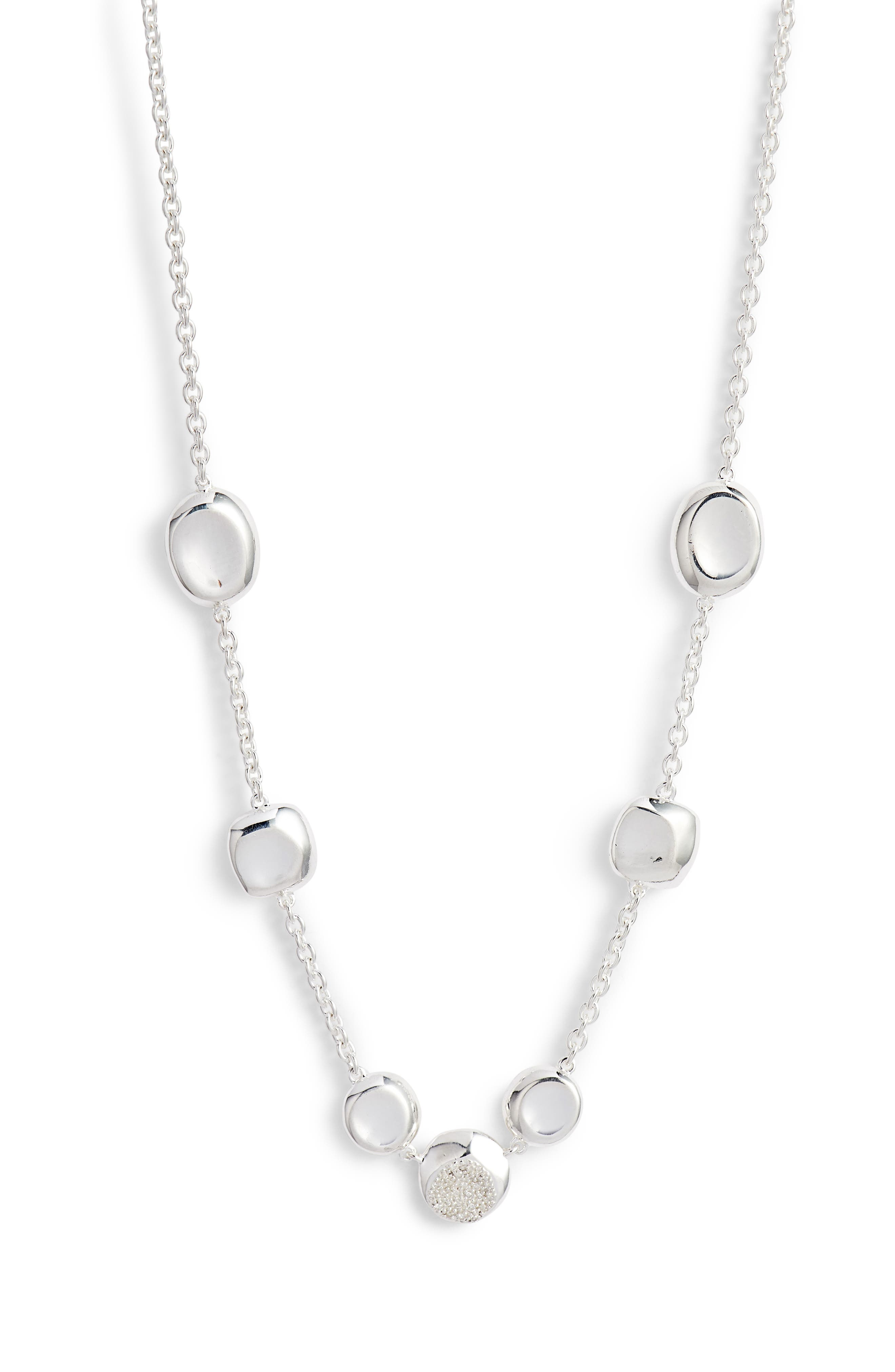 Diamond Pavé Station Necklace,                         Main,                         color, SILVER/ DIAMOND