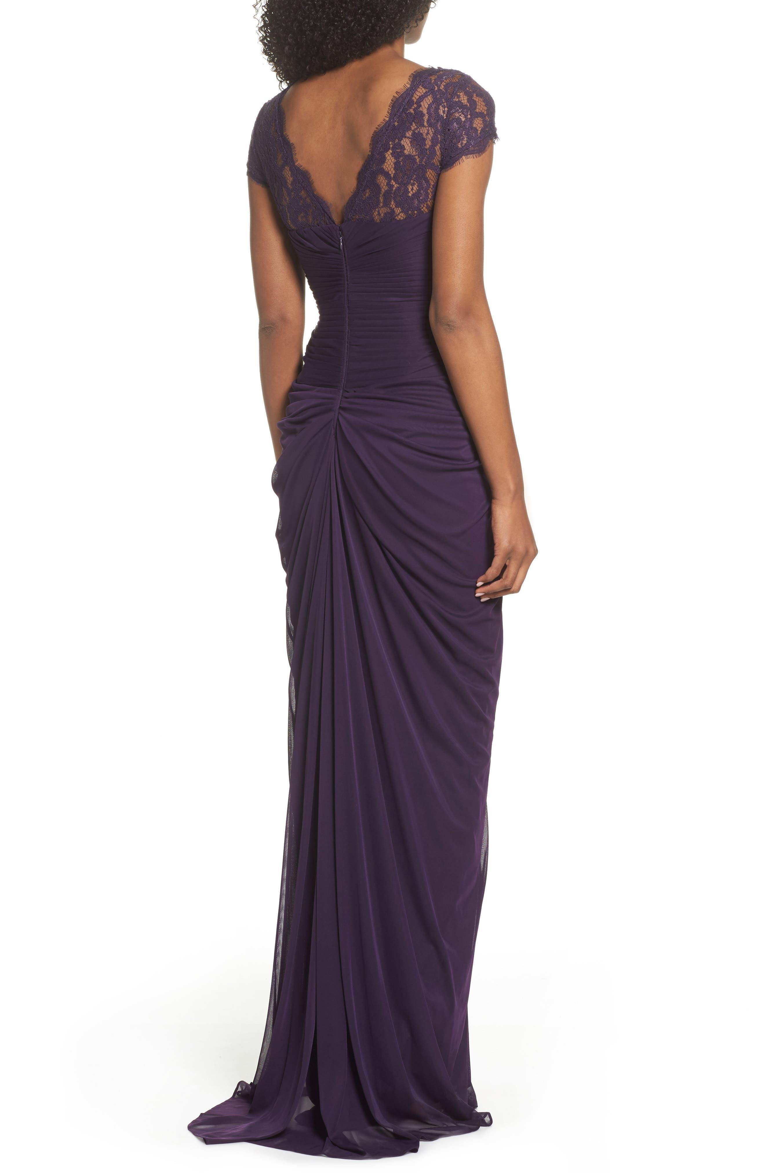 Lace Yoke Drape Gown,                             Alternate thumbnail 7, color,