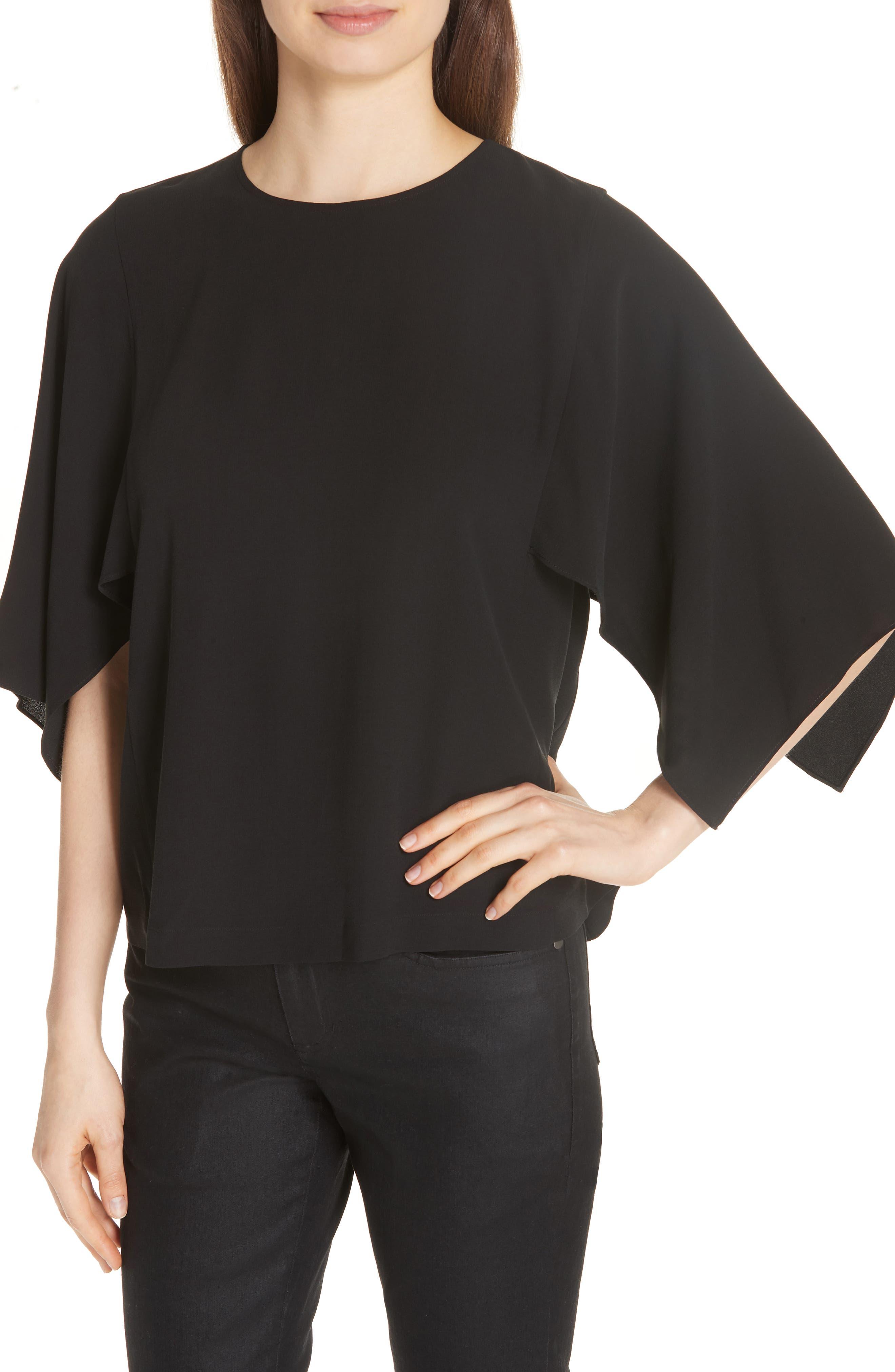 Slit Sleeve Silk Top,                             Alternate thumbnail 4, color,                             BLACK