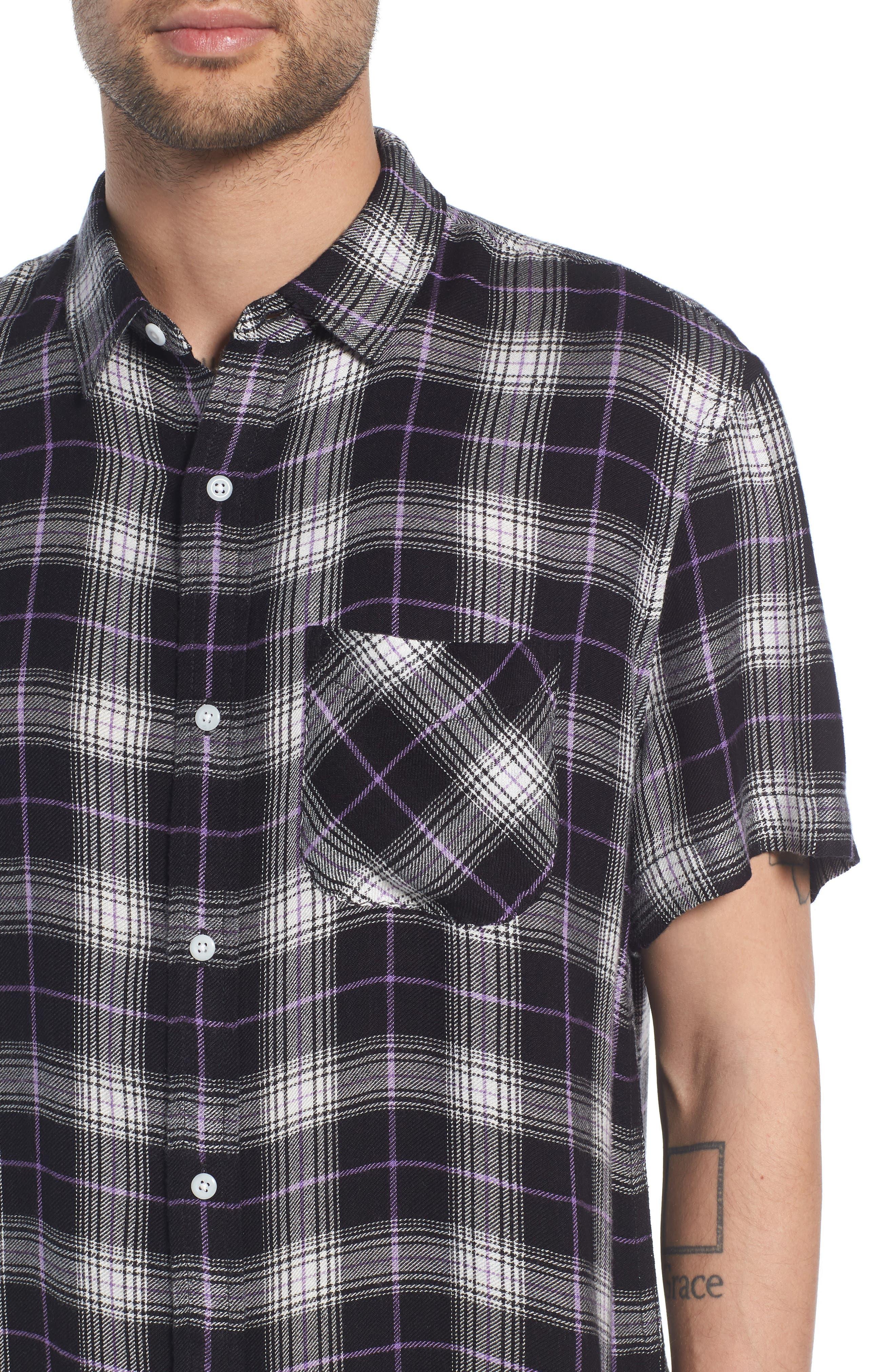 Drapey Plaid Short Sleeve Shirt,                             Alternate thumbnail 4, color,                             BLACK ROCK CODY PLAID