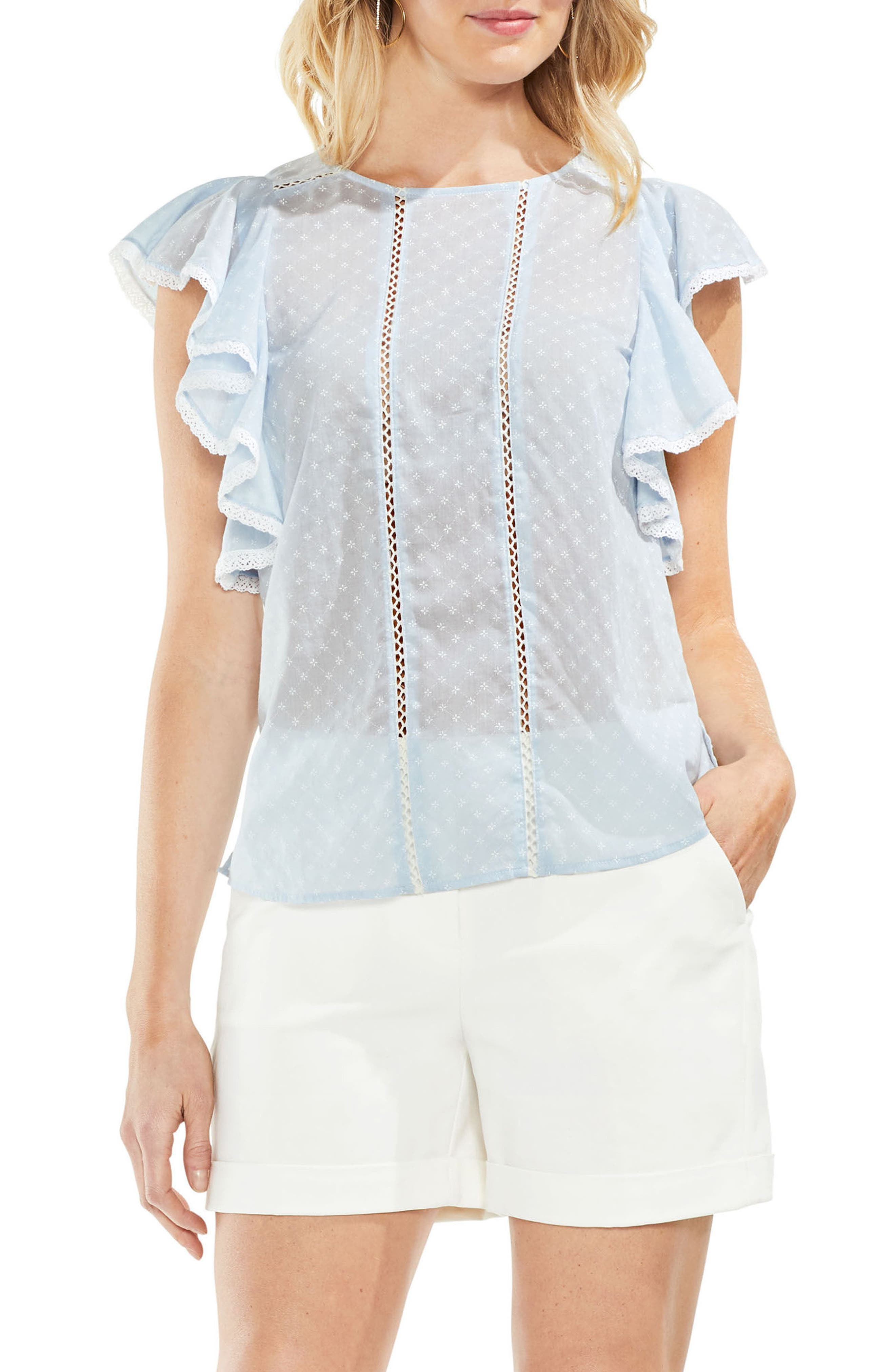 Ruffled Floral Embroidered Top,                             Main thumbnail 3, color,